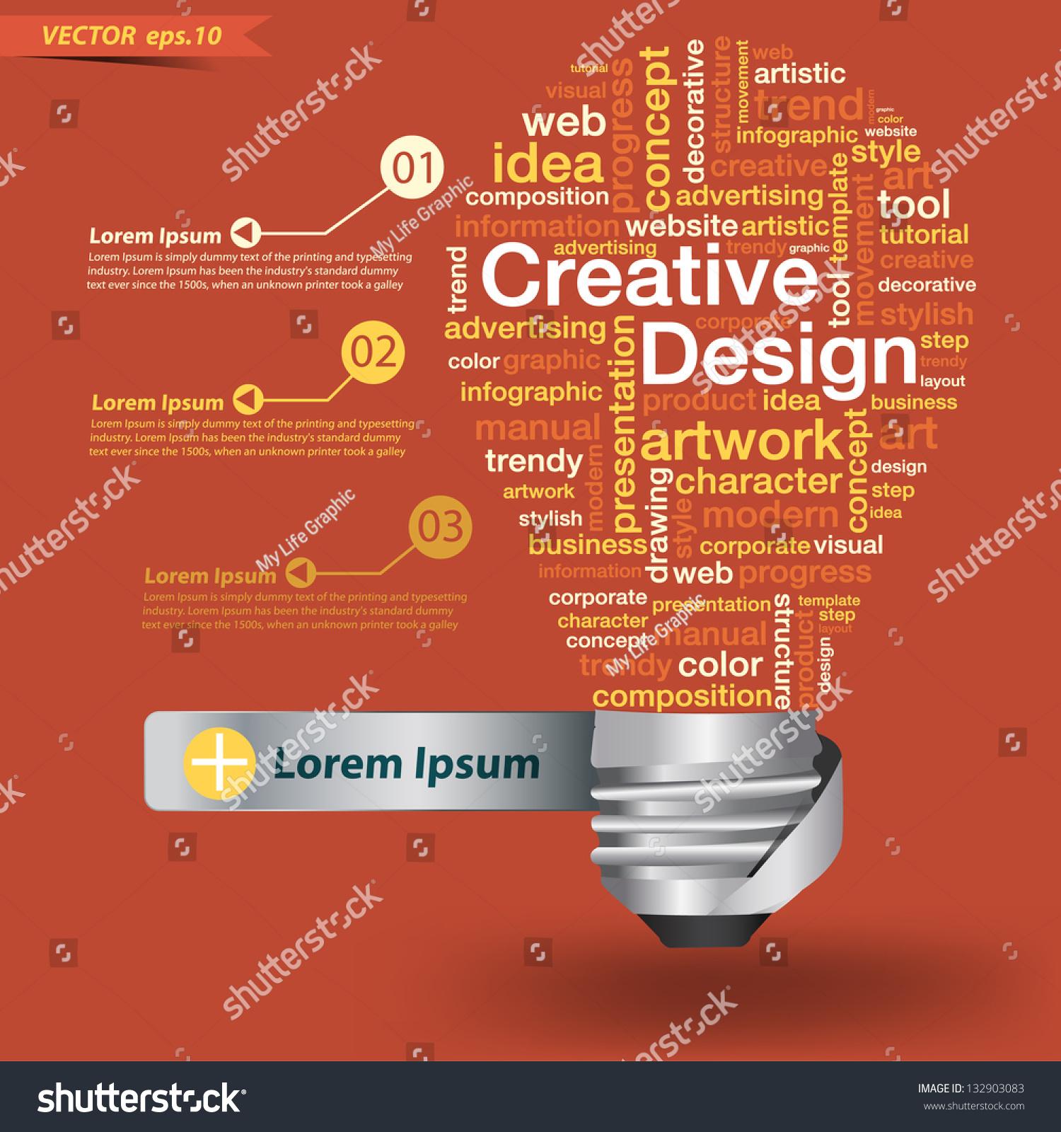 creative light bulb creative design concept stock vector  creative light bulb creative design concept of word cloud vector illustration modern template design