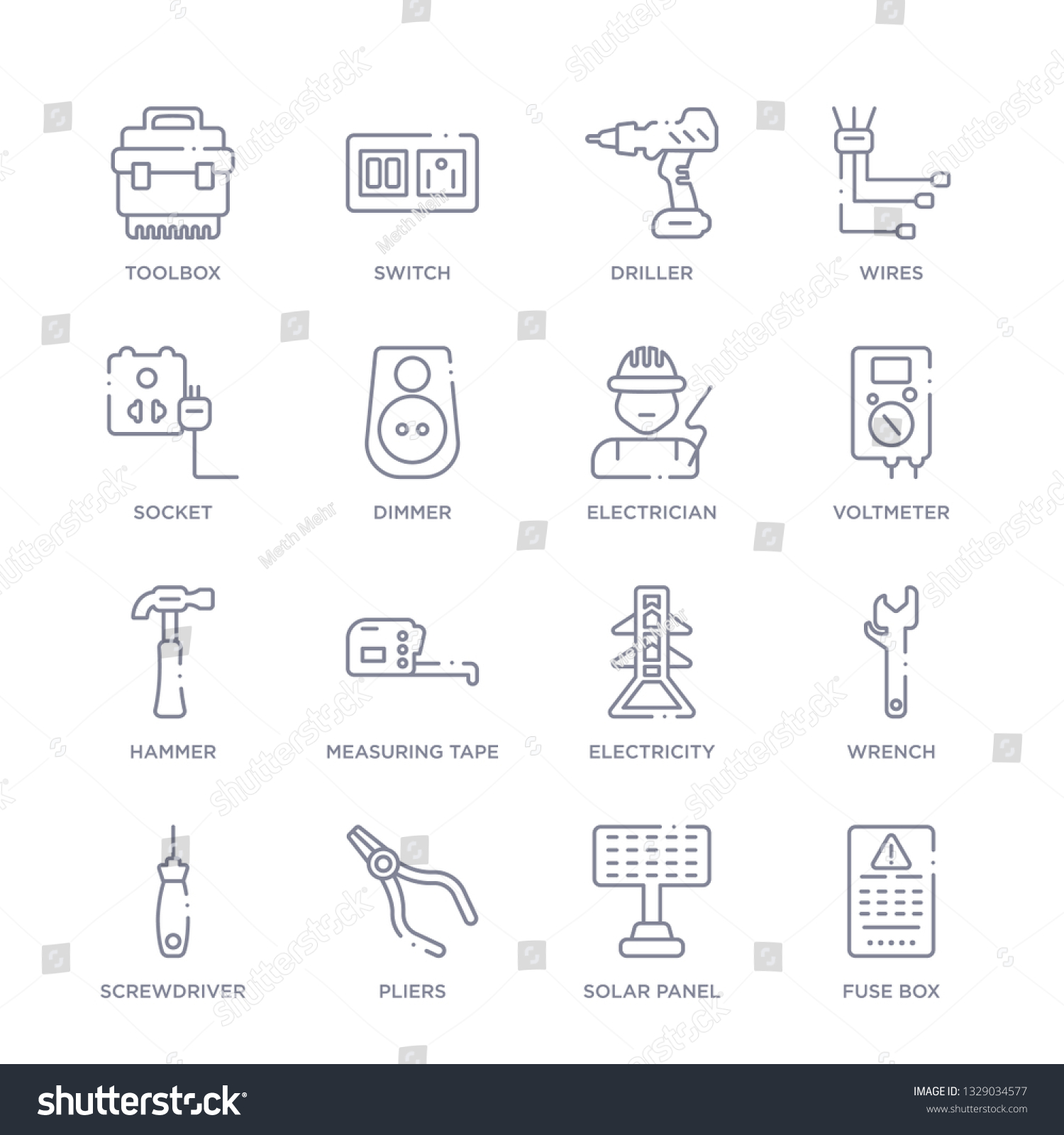 set 16 thin linear icons such stock vector (royalty free) 1329034577  shutterstock