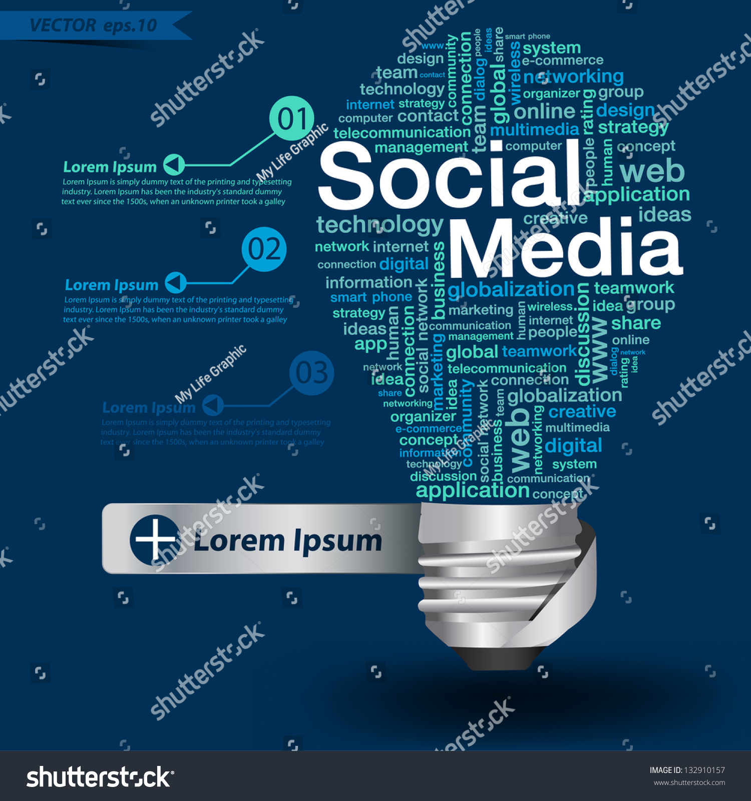 creative light bulb social media concept stock vector  creative light bulb social media concept of word cloud vector illustration modern template design