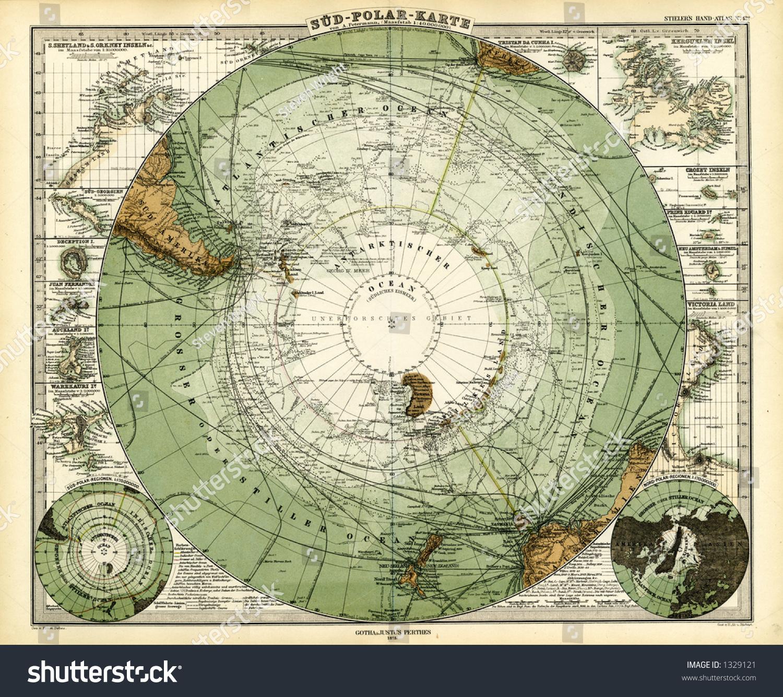 1872 Antikke Stieler Kort Over Antarktis Lagerillustration 1329121
