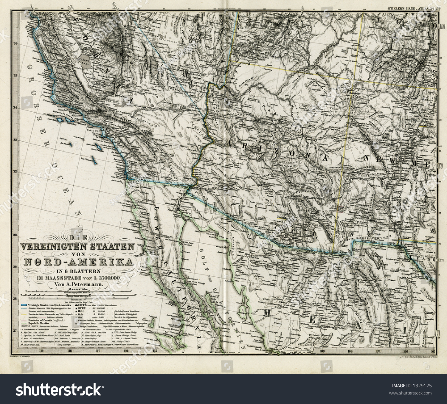 Royalty Free Stock Illustration Of 1872 Antique Stieler Map United
