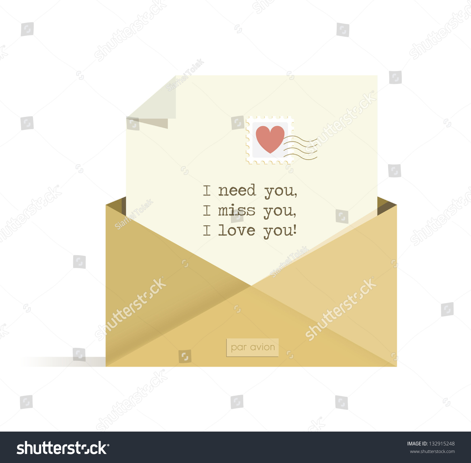 Letter Need You Miss You Love Stock Vector Shutterstock
