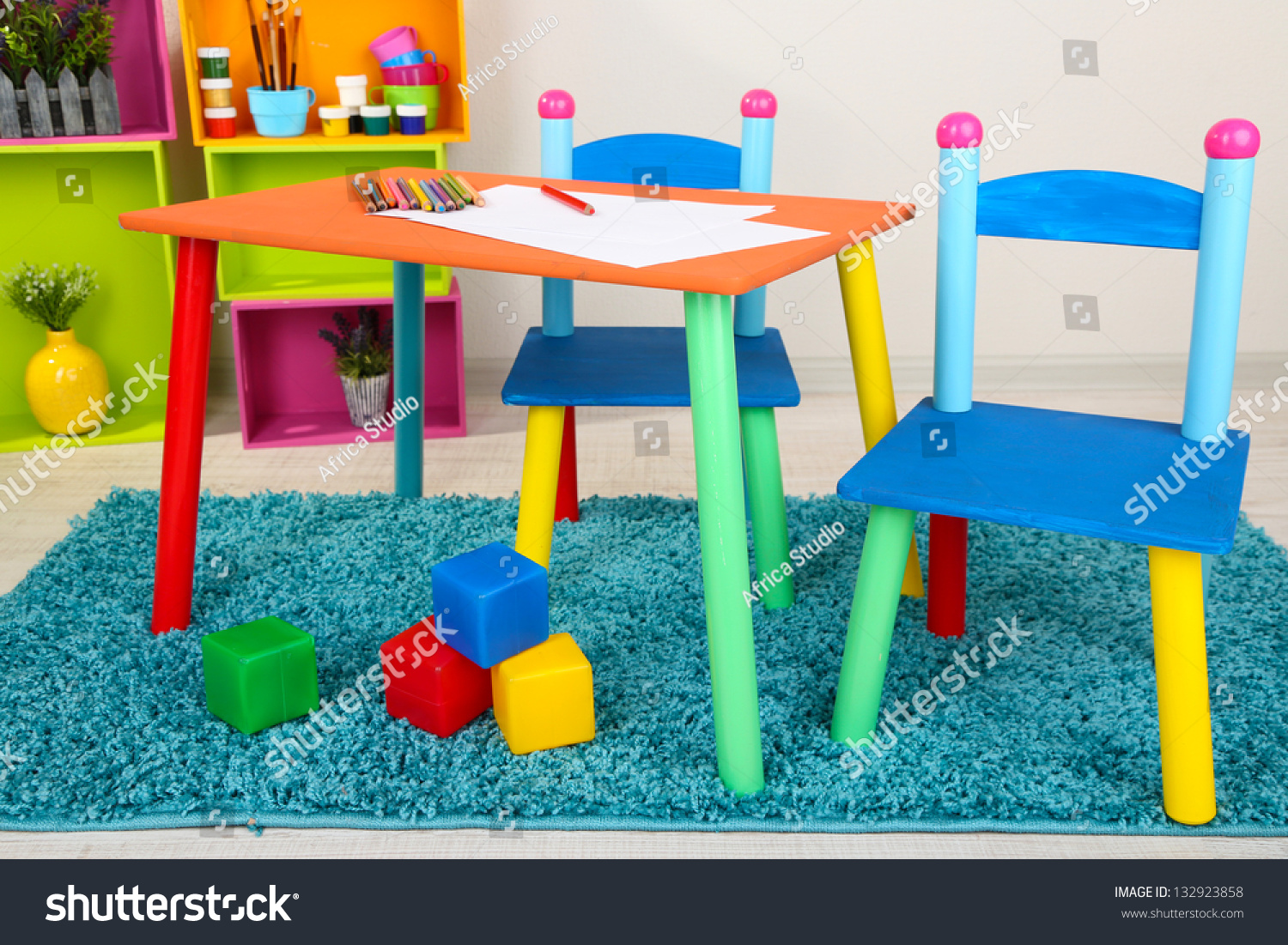 small colorful table chairs little kids stock photo 132923858 shutterstock. Black Bedroom Furniture Sets. Home Design Ideas