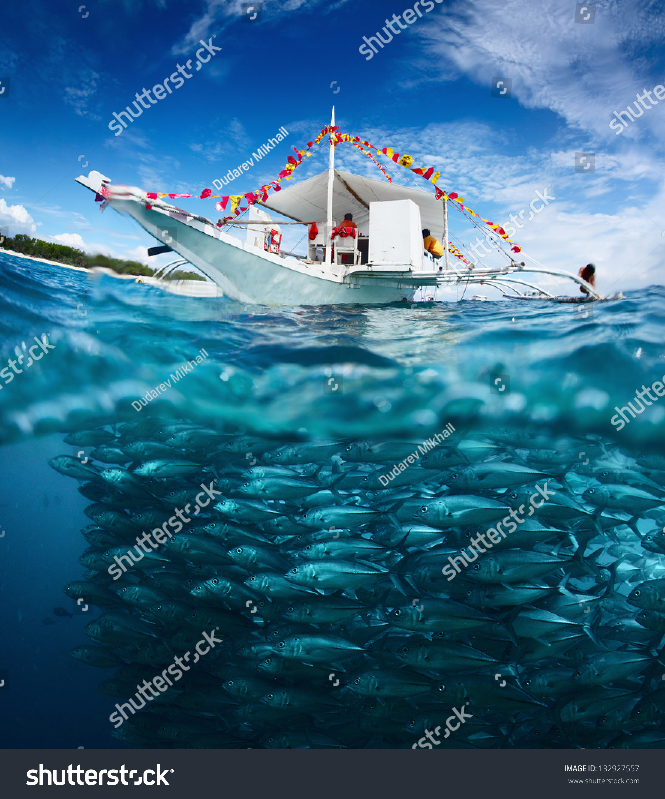 collage fishing boat on surface huge stock photo 132927557, Reel Combo