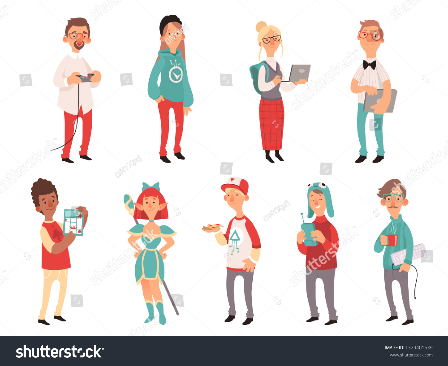 Smart teen geeks boys and girls teenagers technology lovers vector characters