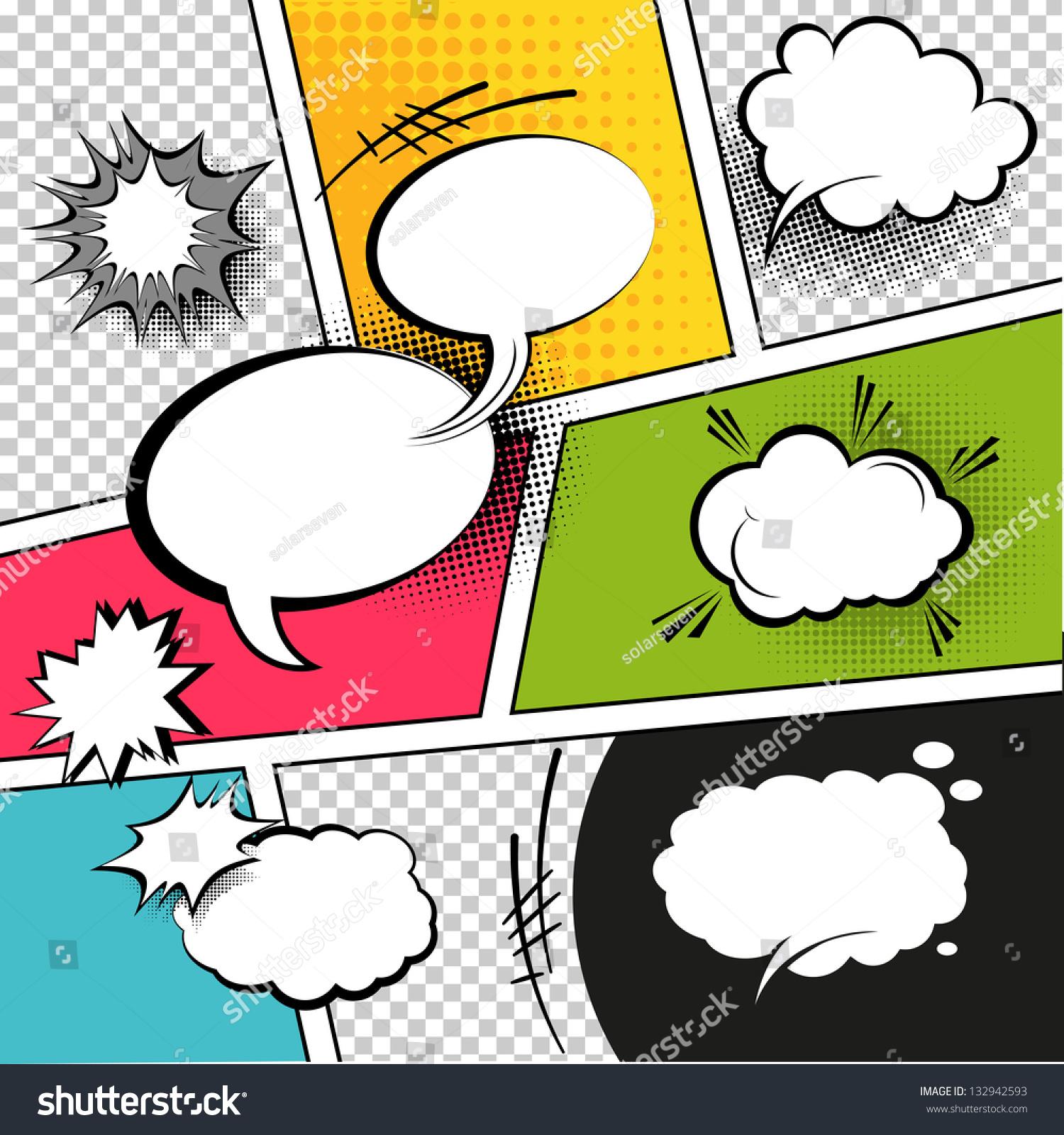 comic speech bubbles on comic strip stock vector 132942593 shutterstock. Black Bedroom Furniture Sets. Home Design Ideas