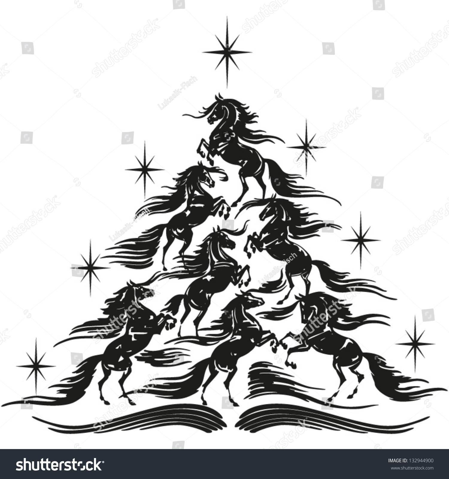 horse lovers christmas tree christmas tree stock vector 132944900