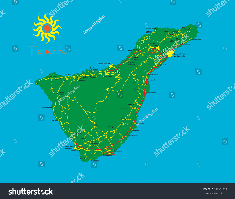 Tenerife Map Stock Vector Shutterstock - Tenerife on a world map