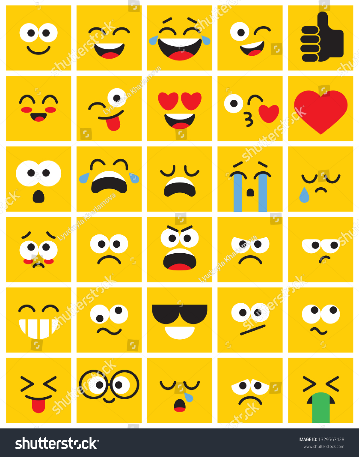 Emoji Square Pack Set Funny Classic Stock Vector (Royalty