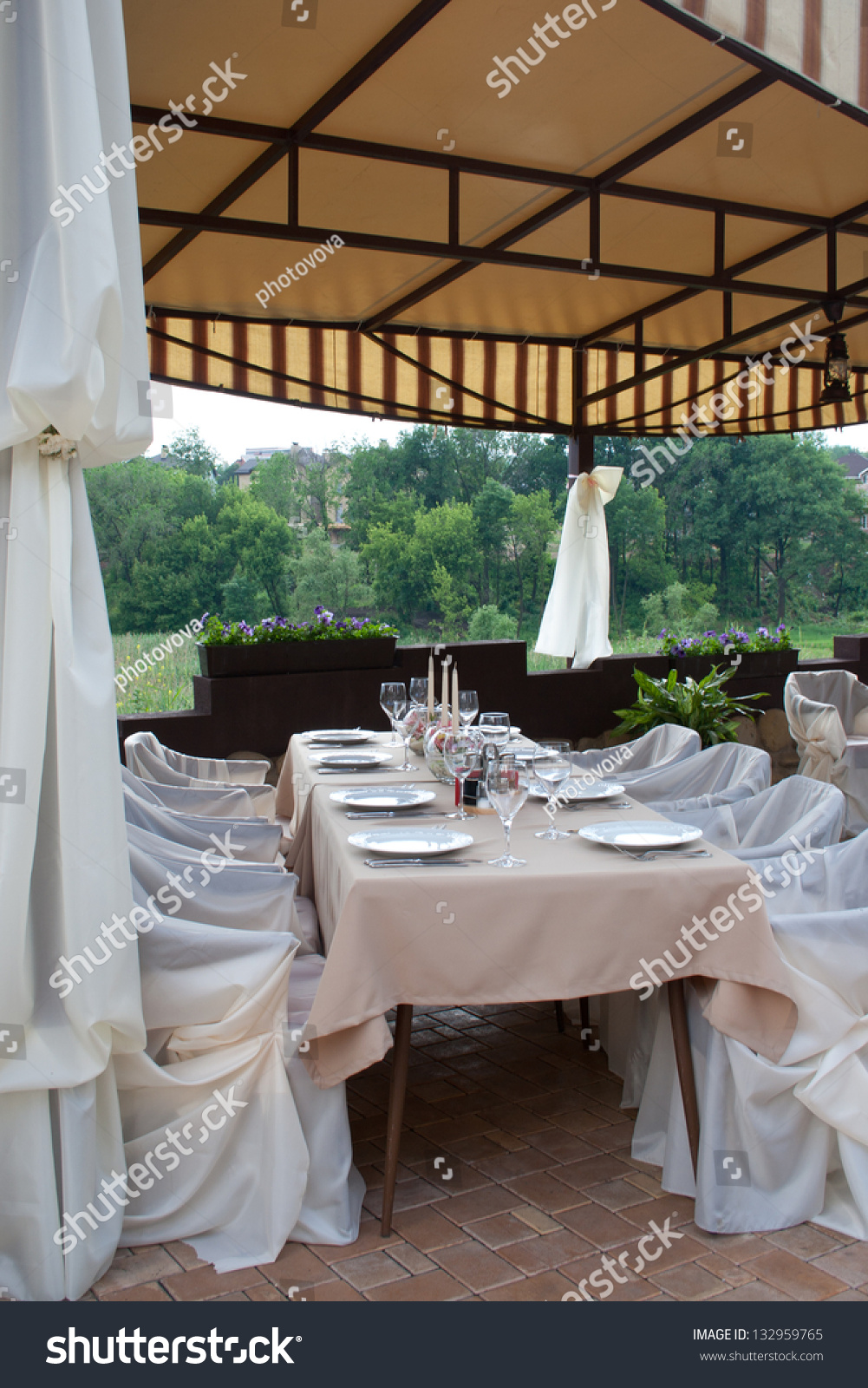 Formal breakfast table setup hotel restaurant stock photo