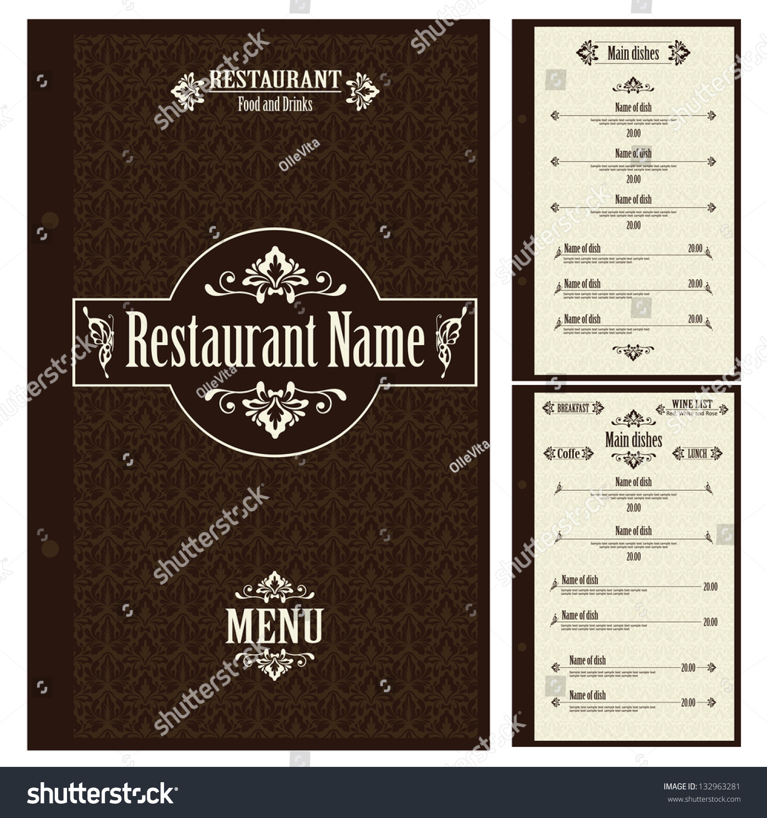 Restaurant Menu Design Template Vector Vector 132963281 – Restaurant Menu Design Templates