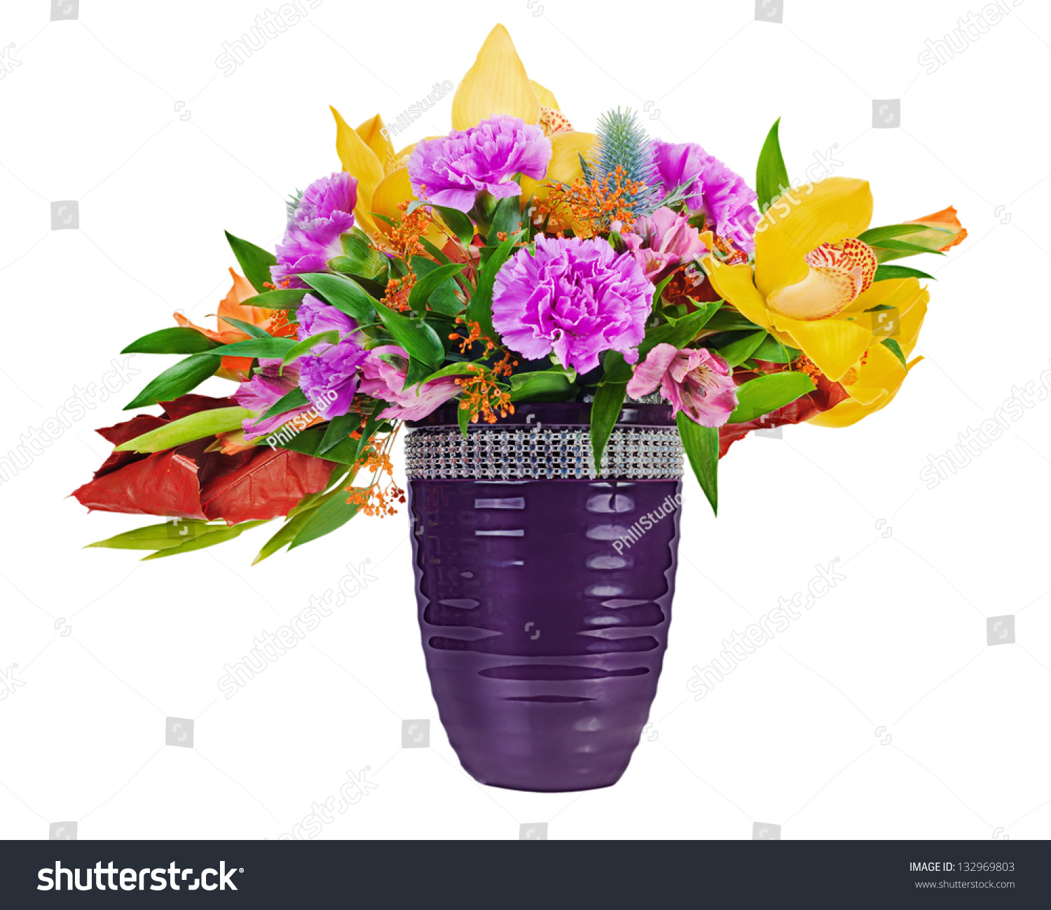 Floral bouquet orchids gladioluses carnation arrangement stock floral bouquet of orchids gladioluses and carnation arrangement centerpiece in blue vase isolated on white reviewsmspy