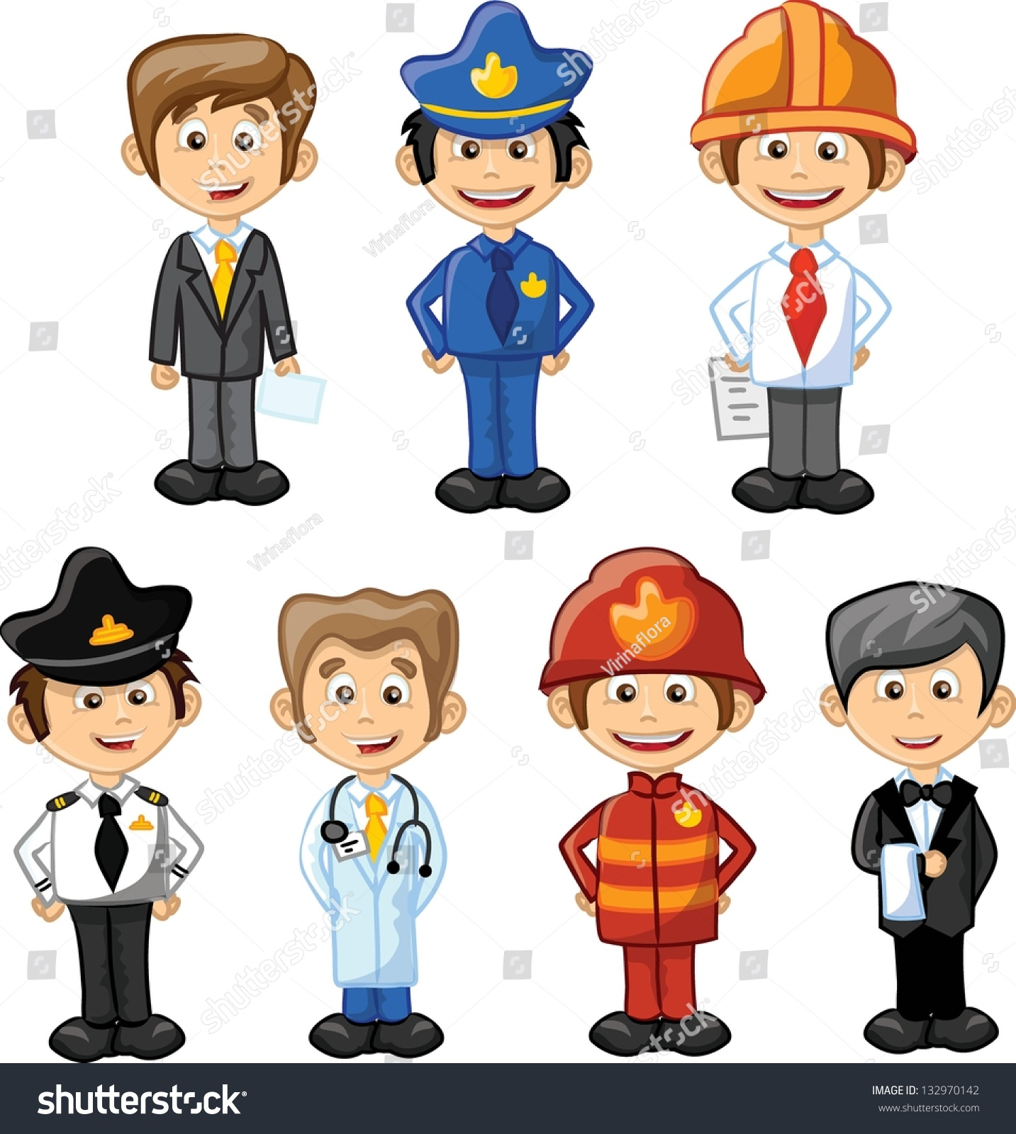 Cartoon Characters Jobs : Cartoon characters manager chefpoliceman waiter singer