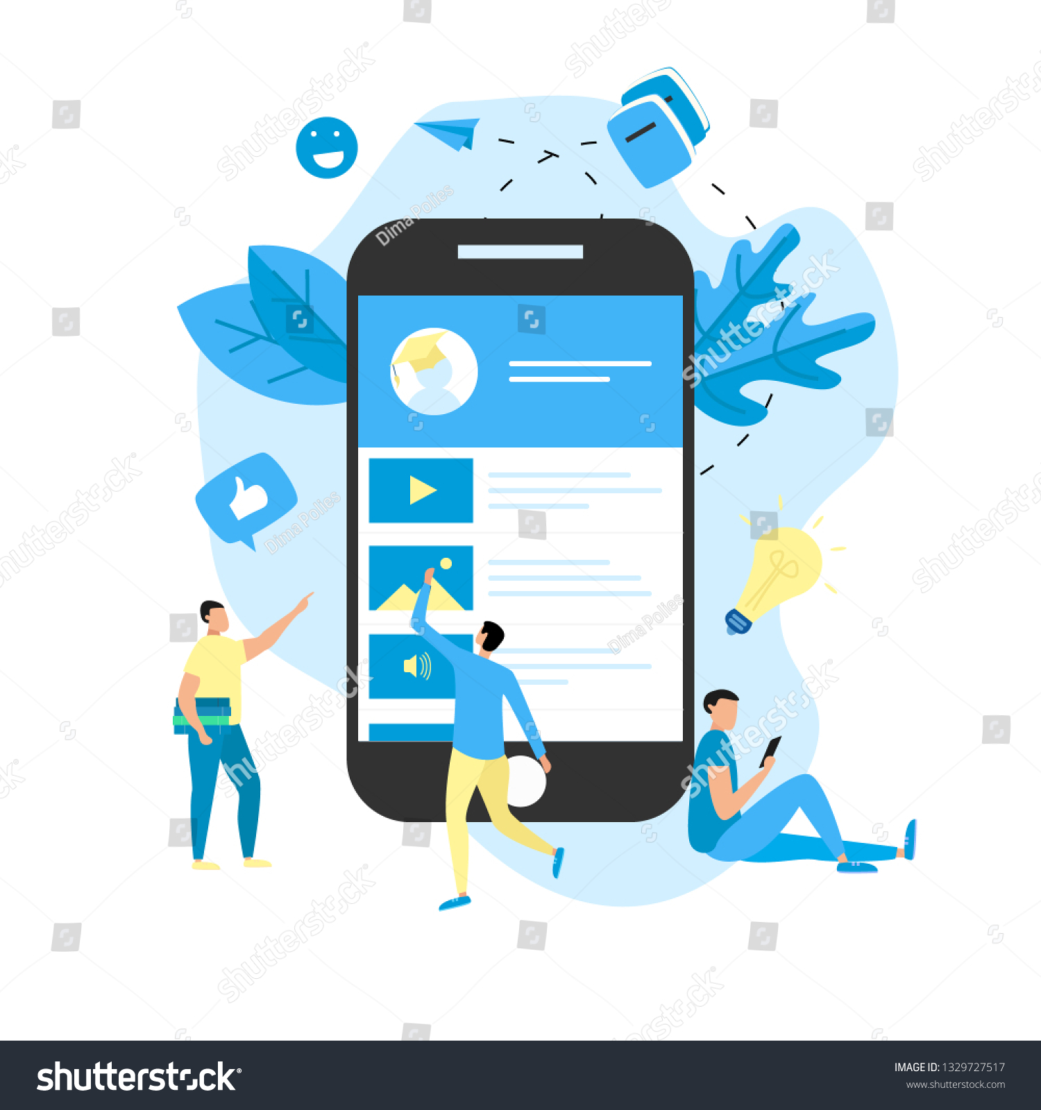 Mobile Online Education App Elearning Concept Stock Vector Royalty