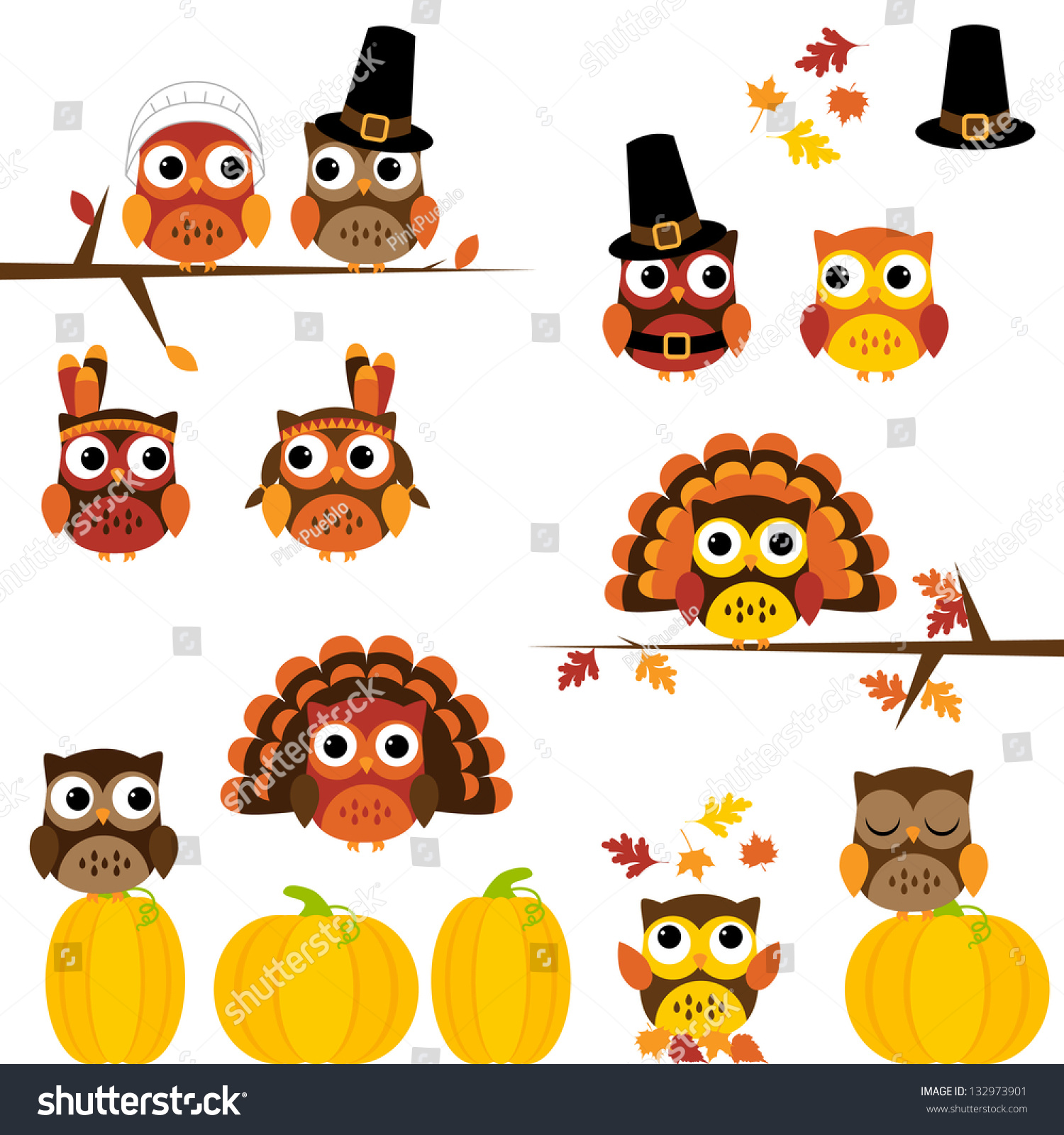 Thanksgiving Themed Pictures Stock Vector Vector Set Of Thanksgiving Themed Owls