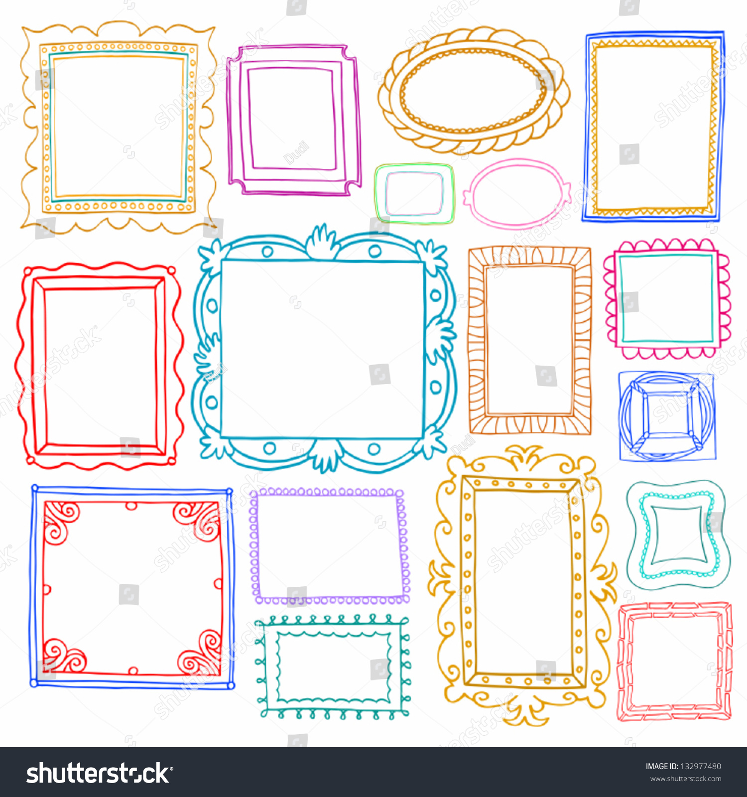 Royalty-free Vintage photo frames set, drawing… #132977480 Stock ...