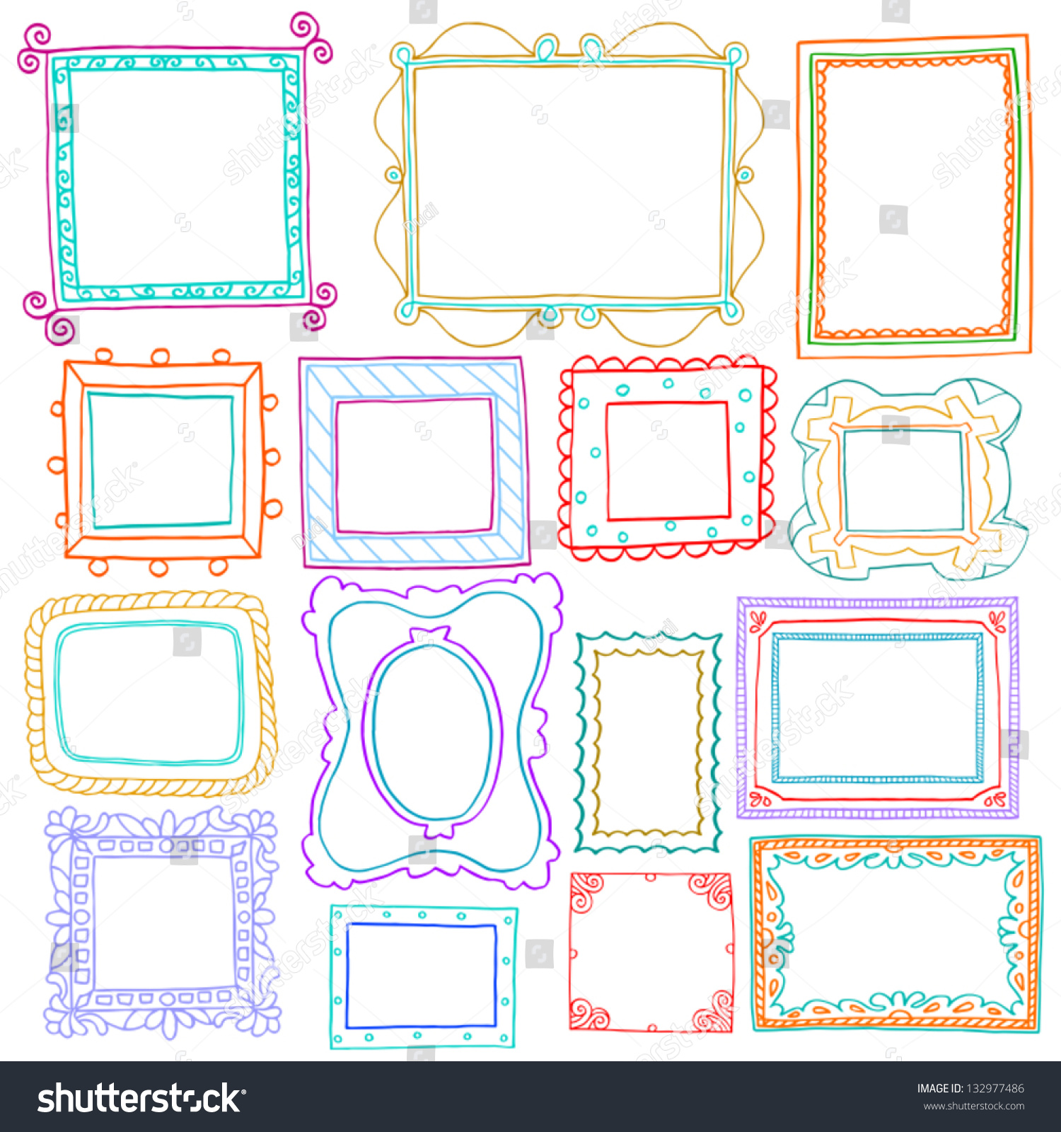 vintage photo frames set drawing doodle style antigue ornamental and cute photo colored frames