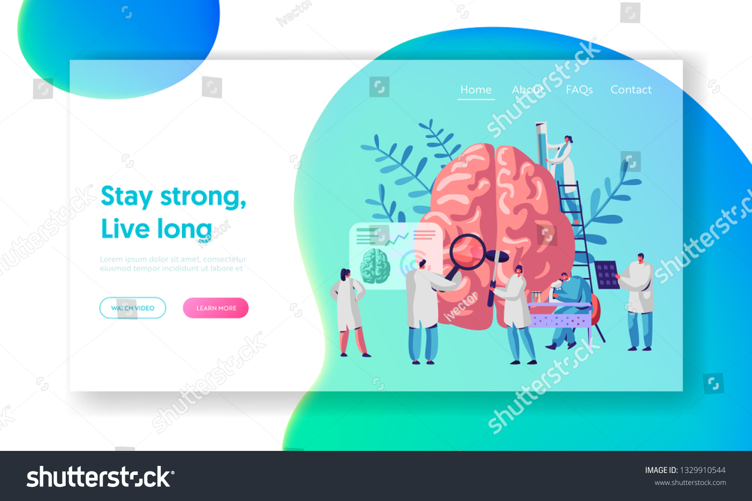 Laboratory Scientist Group Study Human Brain Stock Vector