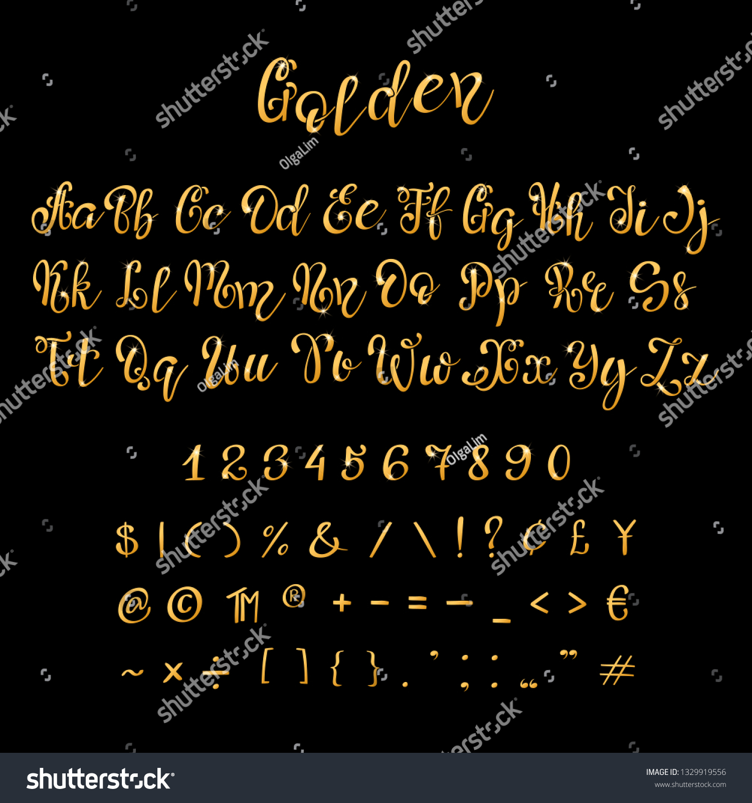 Calligraphic Golden Letters Numbers Luxury Elegant Stock Vector Royalty Free 1329919556
