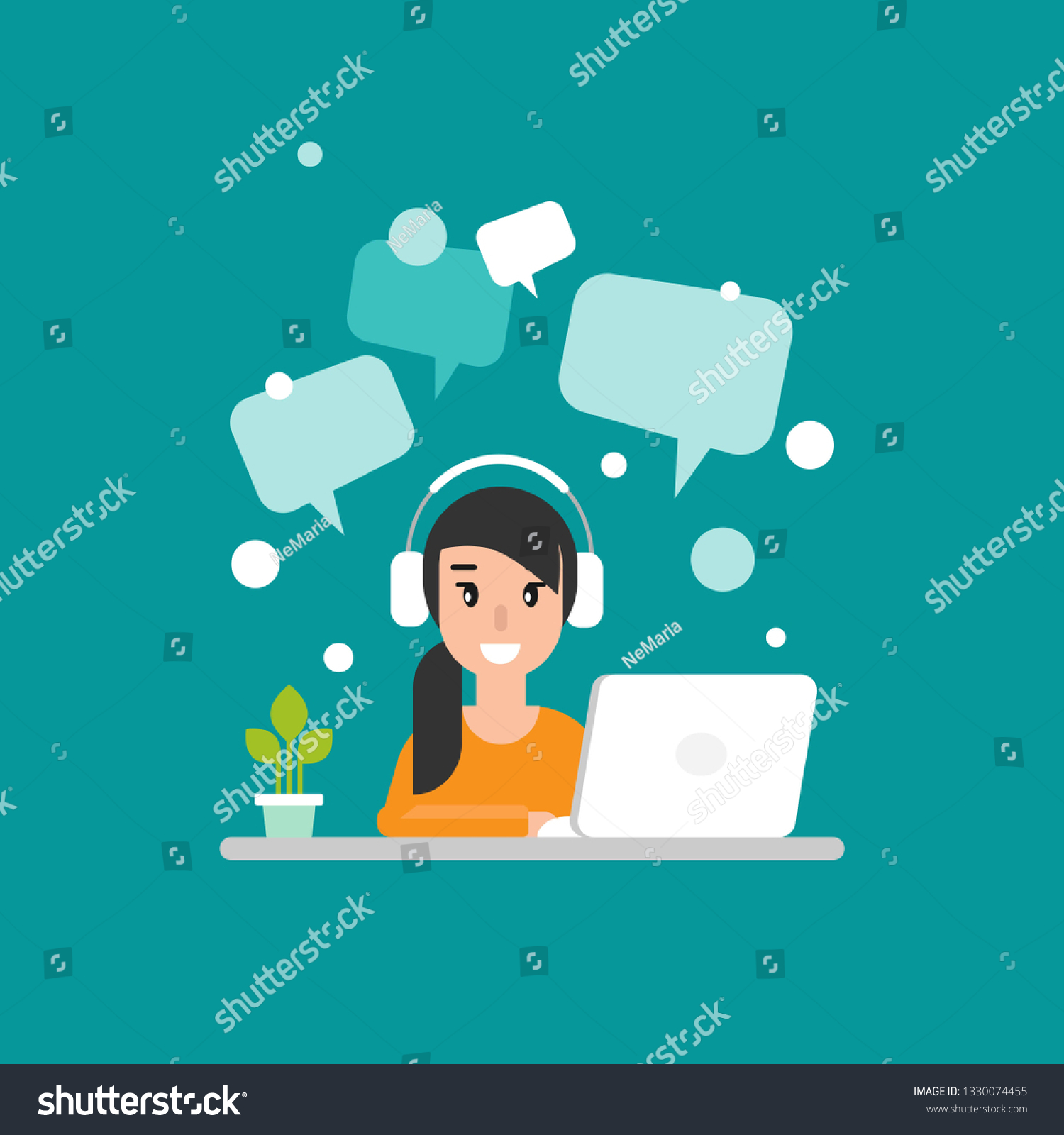 Cute Freelancer Girl On Computer Speech Stock Vector