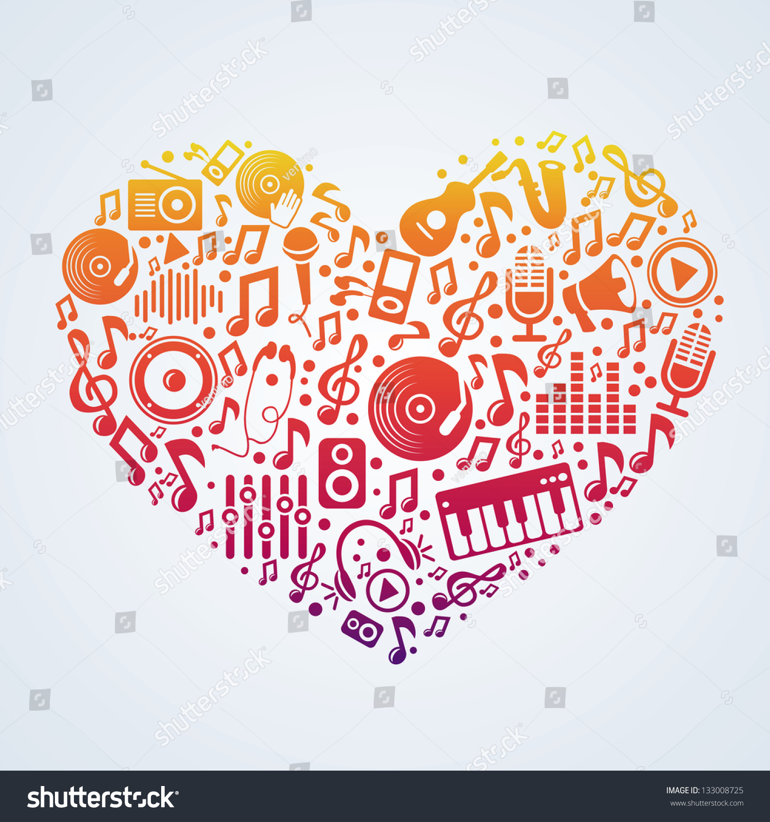 Vector Music Concept Signs Symbols Heart Stock Vector Royalty Free