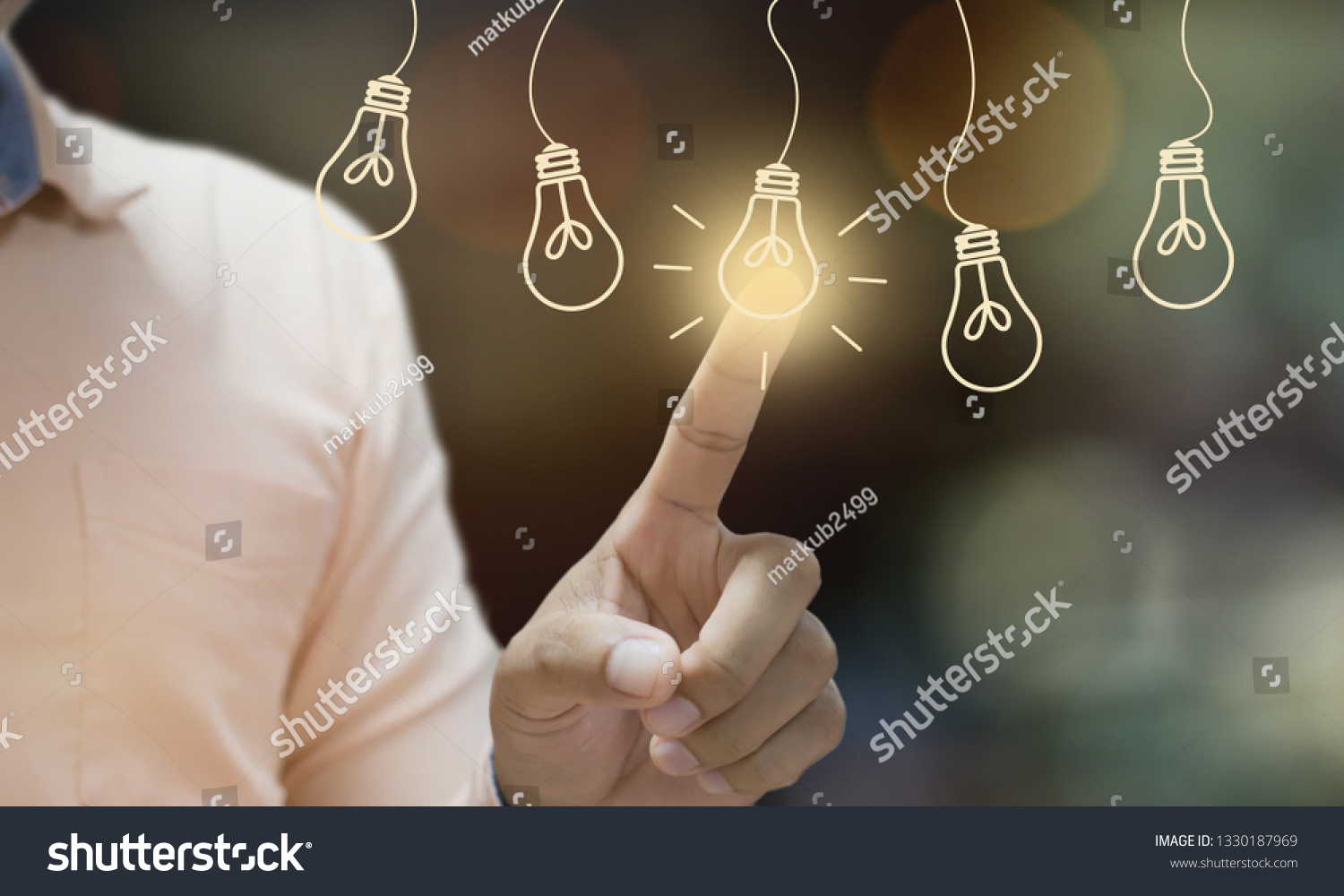 Businessman pressing light creative  idea Concept  idea and innovation #1330187969