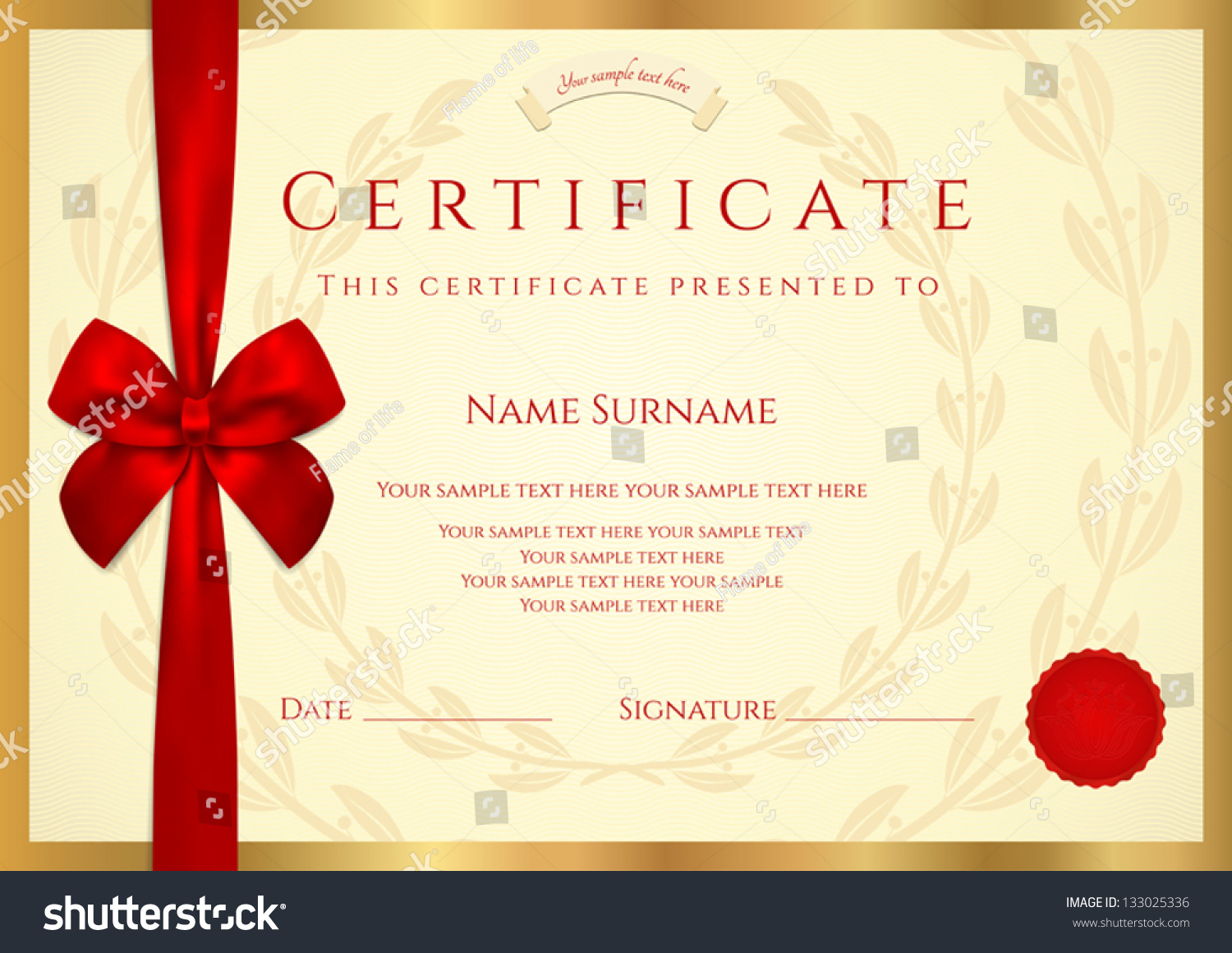 Royalty free certificate of completion template 133025336 certificate of completion template with wax seal border and red bow ribbon xflitez Gallery