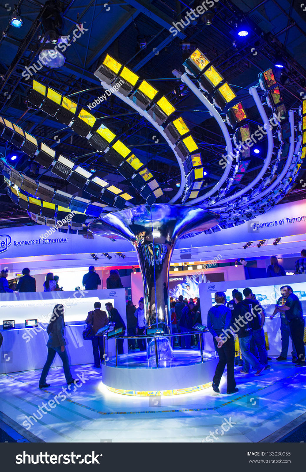 las vegas january 11 an interactive ultrabook tree at the intel booth at ces show held in. Black Bedroom Furniture Sets. Home Design Ideas