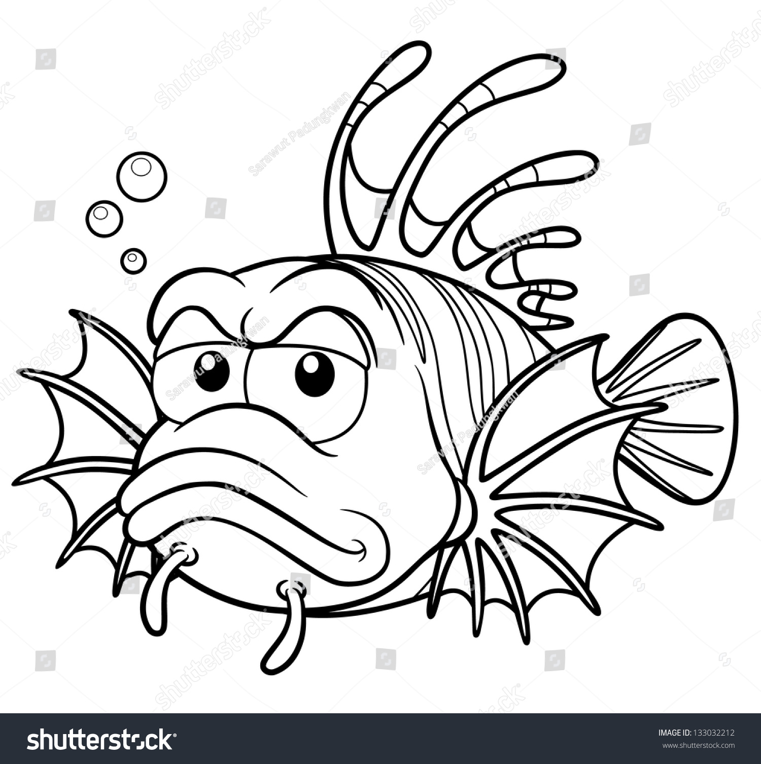 Vector Illustration Lionfish Cartoon Coloring Book Stock Vector ...