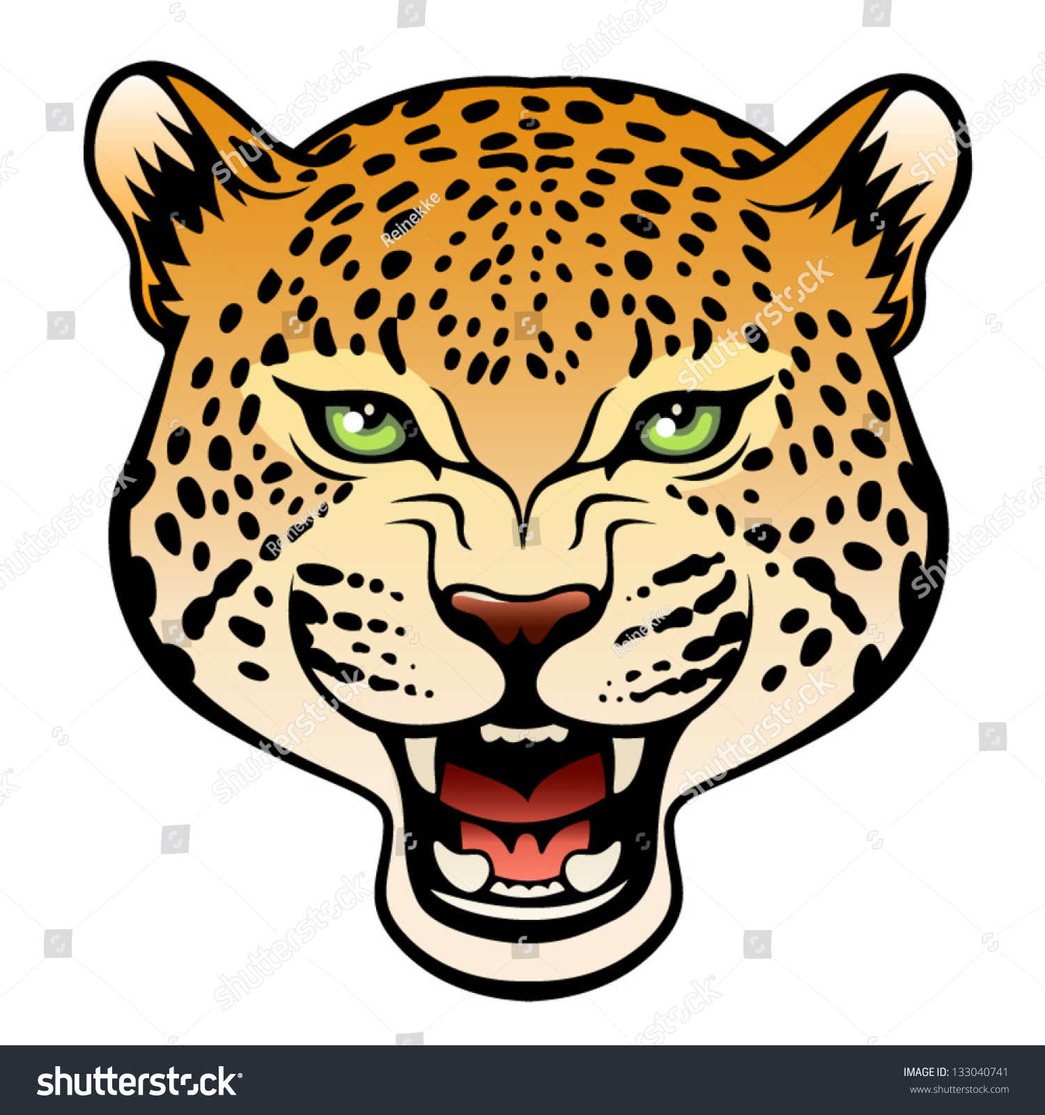 Jaguar Face Clip Art: Jaguar Stock Vector 133040741