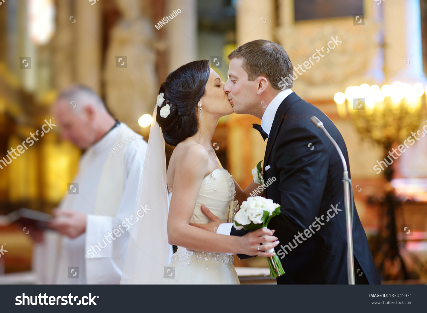 Bride Groom Kissing Church After Wedding Stock Photo 133045931