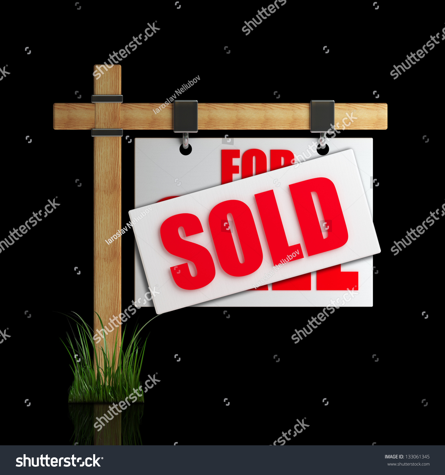 For Sale Sold Sign: For Sale (Sold) Sign Isolated On Black Background High