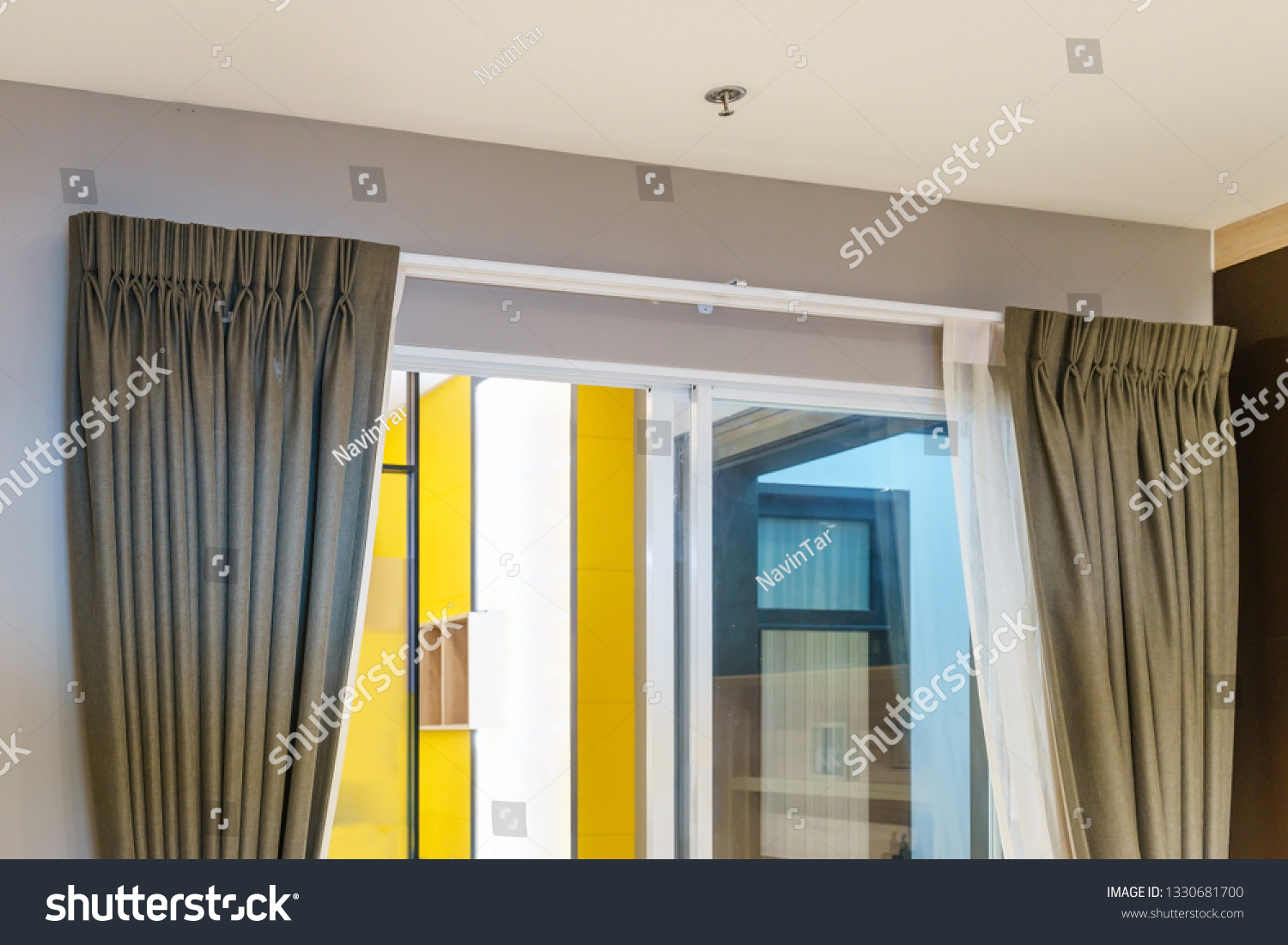 Beautiful Curtains Ringtop Rail Curtain Interior Buildings Landmarks Stock Image 1330681700