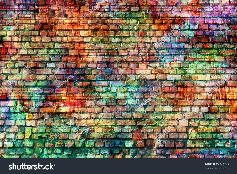 Colorful Grunge Art Wall Illustration Urban Stock