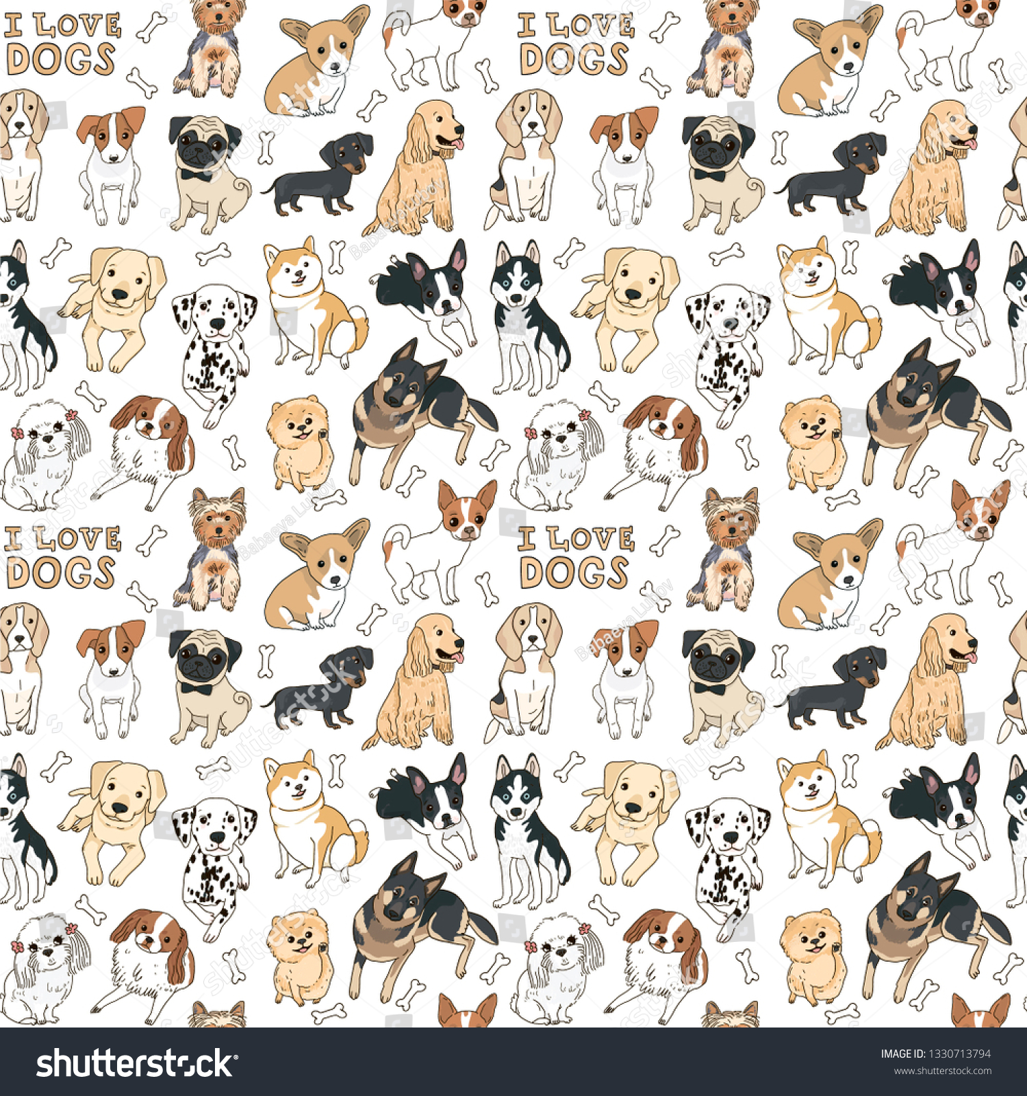 Seamless pattern of different types of breeds drawn dogs illustration vector with the inscription I love dogs and bones on a white background