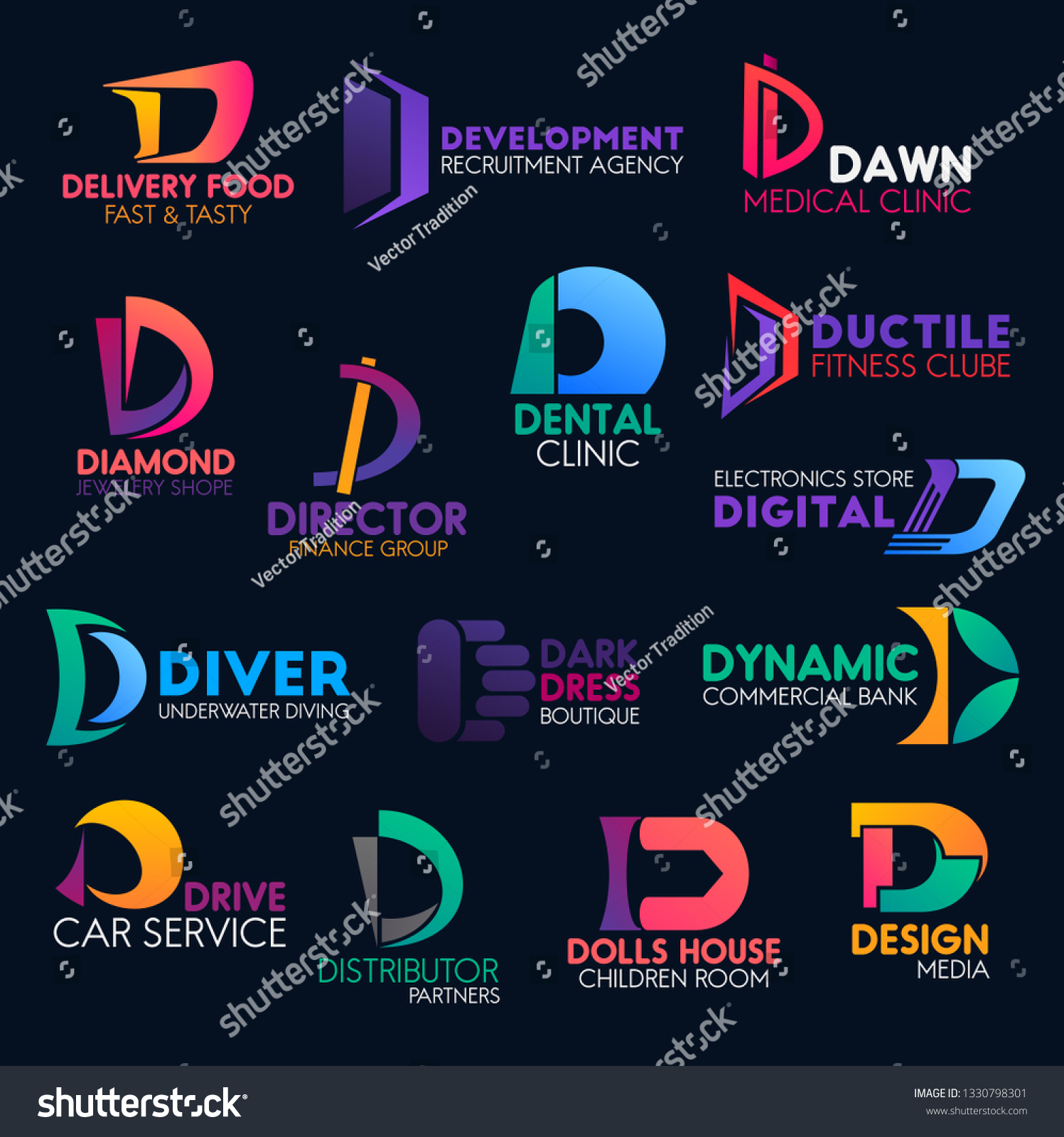 Letter D Icons Business Company Corporate Stock Vector (Royalty Free