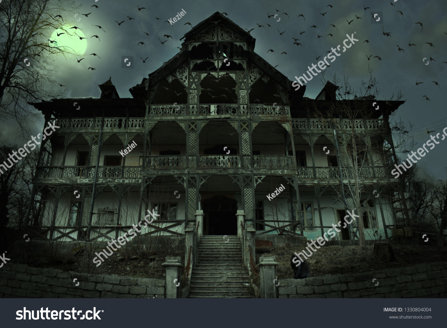 Old Abandoned Mansion Mystic Spooky Forest Stock Photo Edit Now 1330804004
