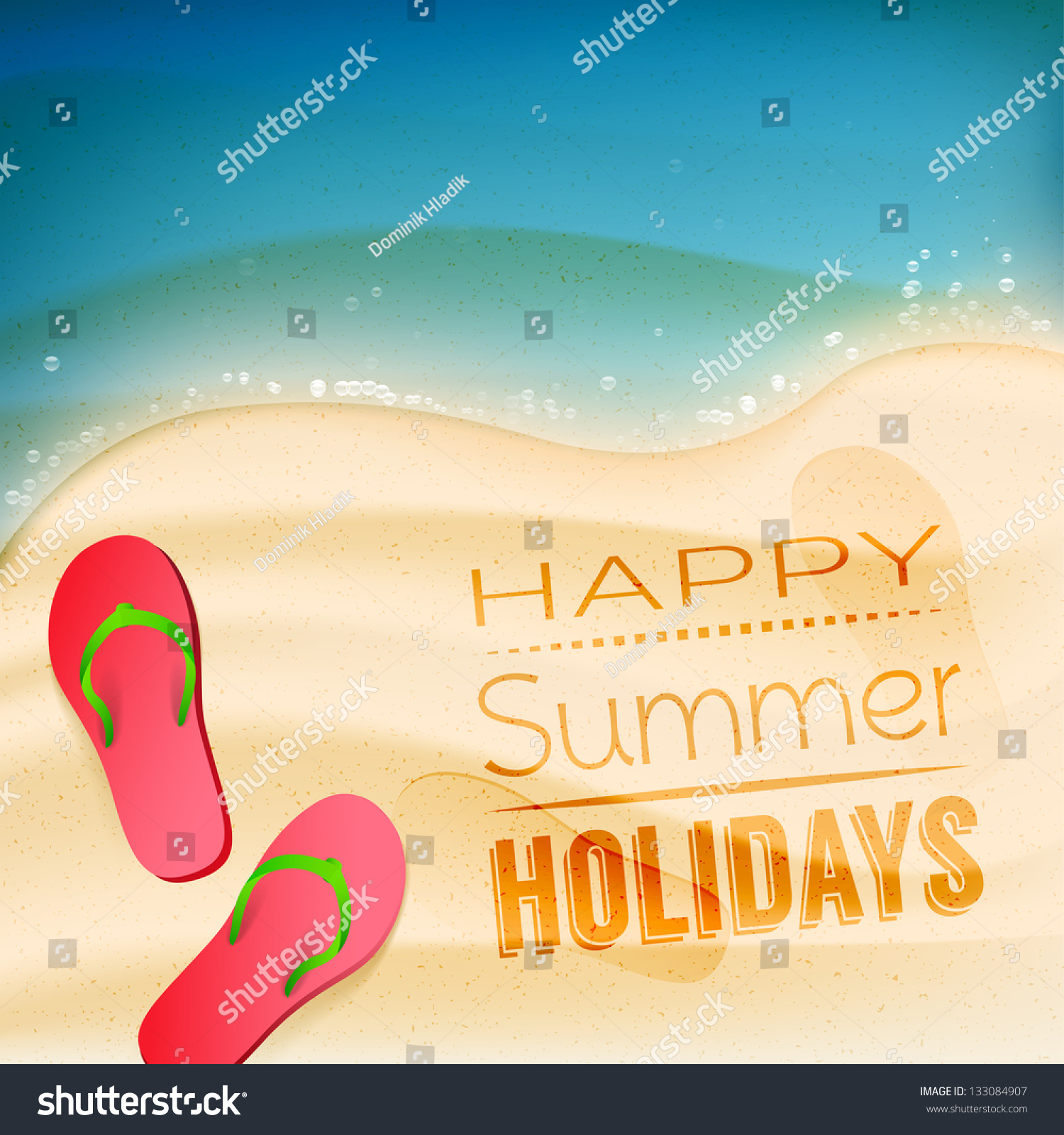 Happy Summer Holidays Creative Background Stock Vector 133084907