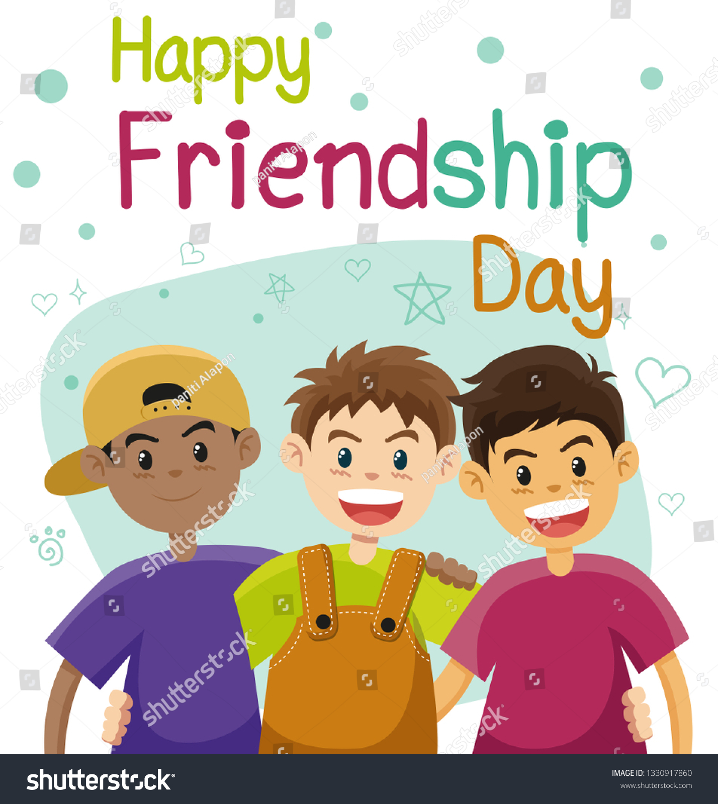 Children Three Best Friends Friendship Flat Stock Vector Royalty Free 1330917860