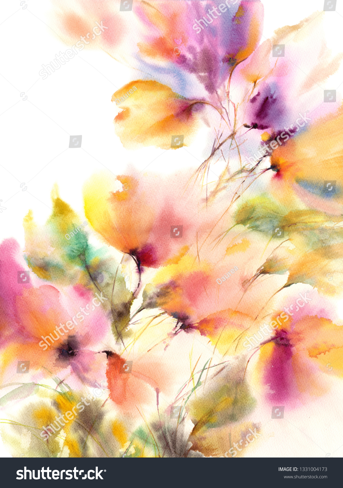 Floral Background Watercolor Floral Painting Delocate Stock