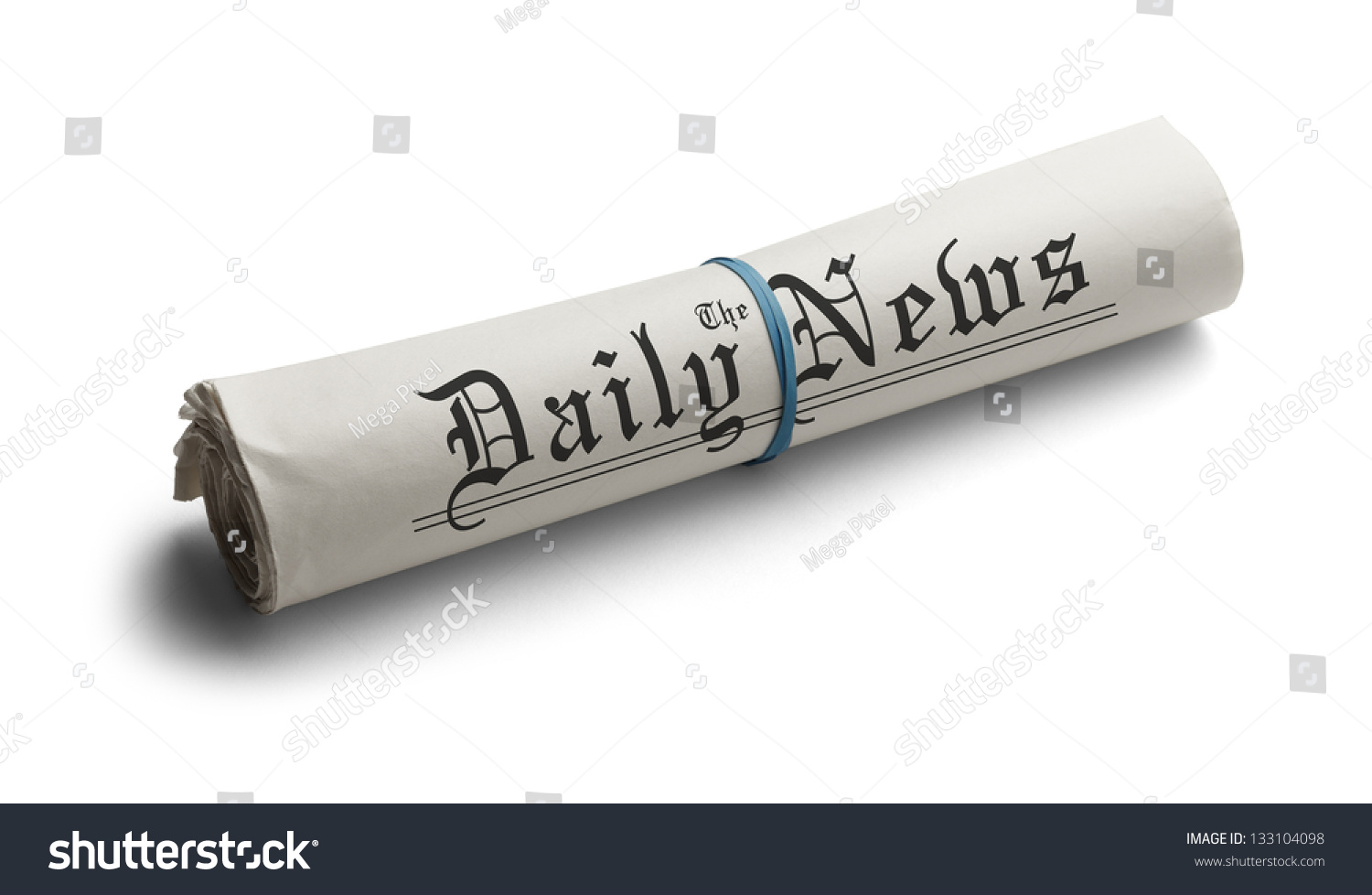 rolled newspaper rubber band daily news stock photo (edit now