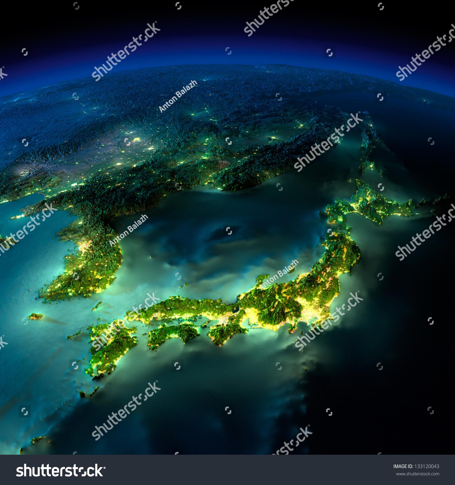 Земной Шар Со Спутника Ночью