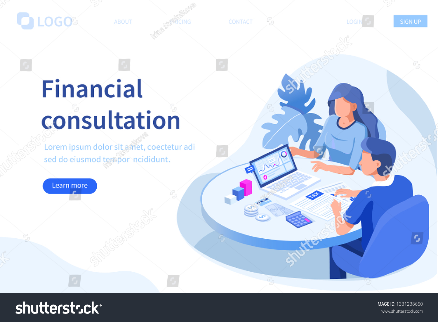 Financial consultation concept. Can use for web banner, infographics, hero images. Flat isometric vector illustration isolated on white background.