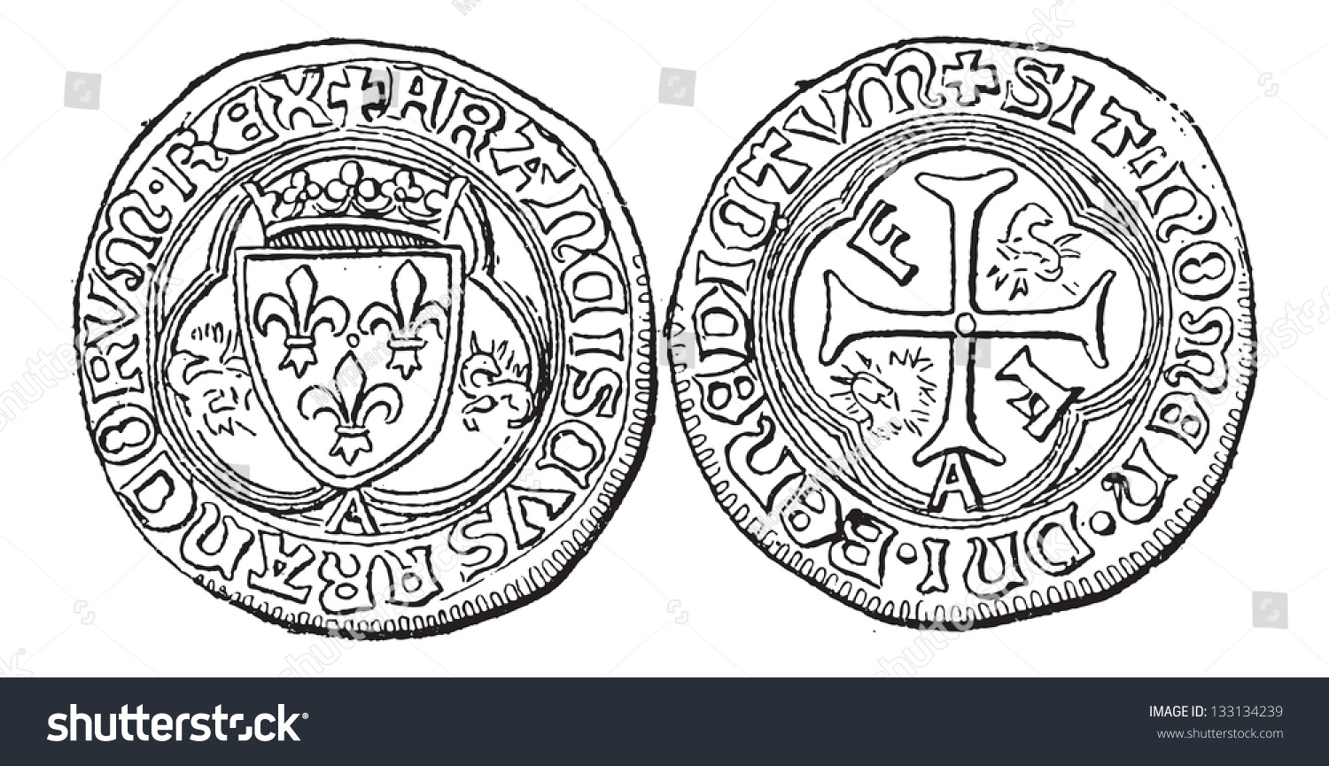 Coin currency francis france vintage engraved stock vector coin currency francis i of france vintage engraved illustration dictionary of words and biocorpaavc