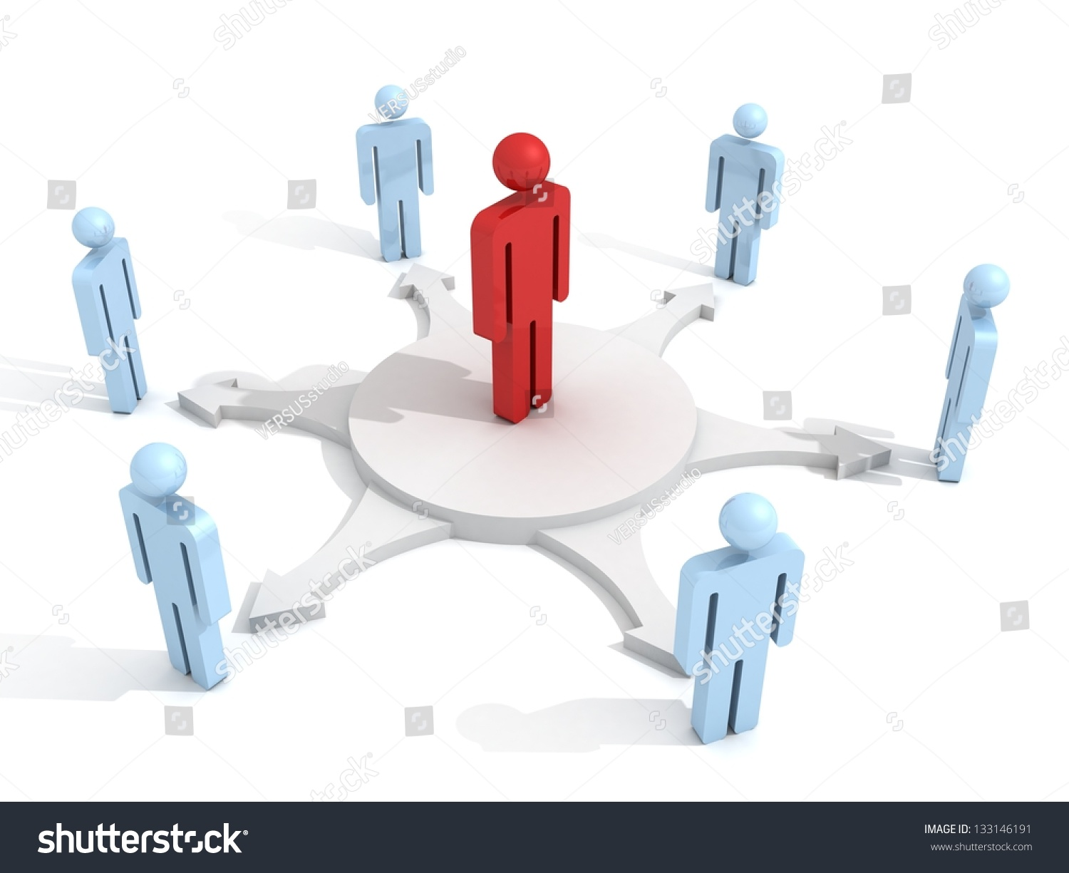 concept team leader center business d stock illustration concept team leader in center of business 3d people group