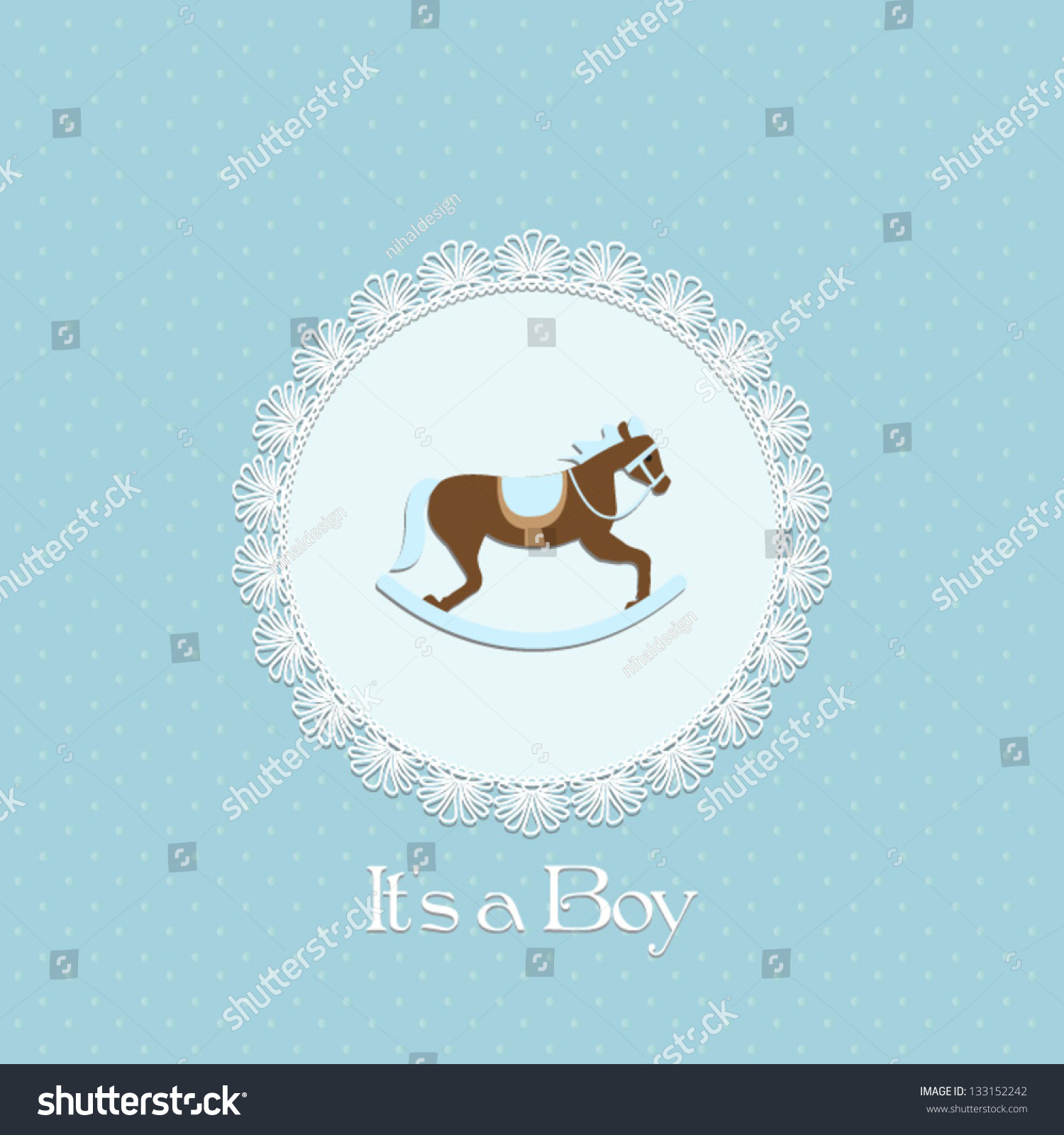 Baby shower invitation baby boy rocking stock vector royalty free baby shower invitation baby boy with rocking horse and lace framector eps10 filmwisefo