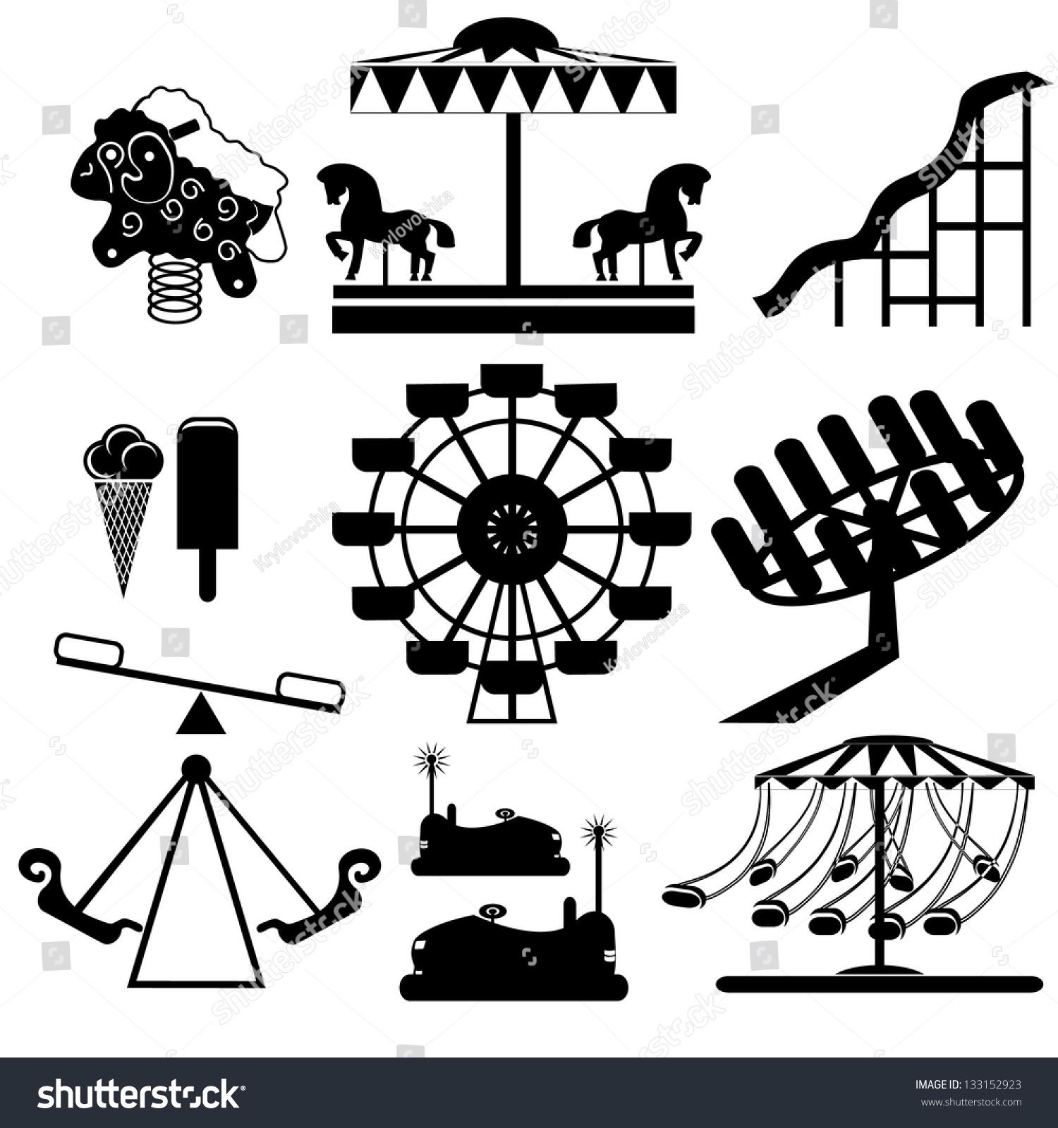 amusement park icons stock vector 133152923 shutterstock Fancy Carousel Horse Clip Art Carousel Horse Stencils
