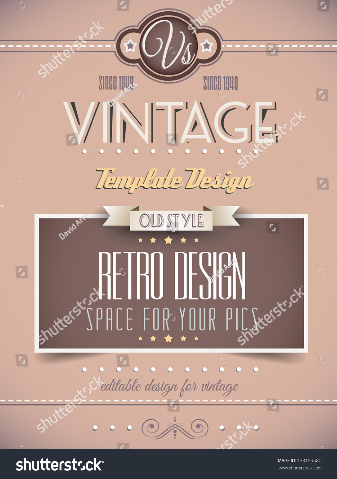 Fashion Book Cover Page : Vintage retro page template for a variety of purposes