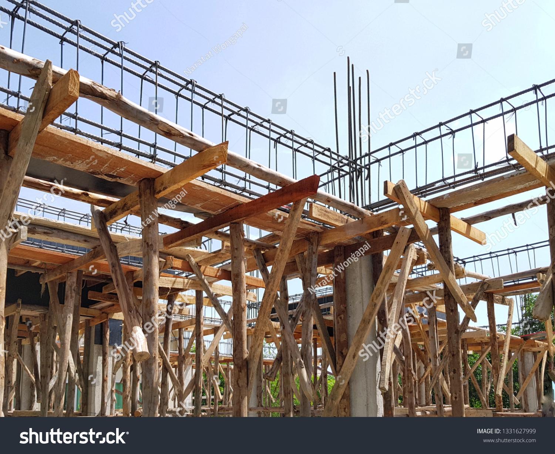 Reinforced Concrete Beam Column Formwork Scaffolding Stock Photo