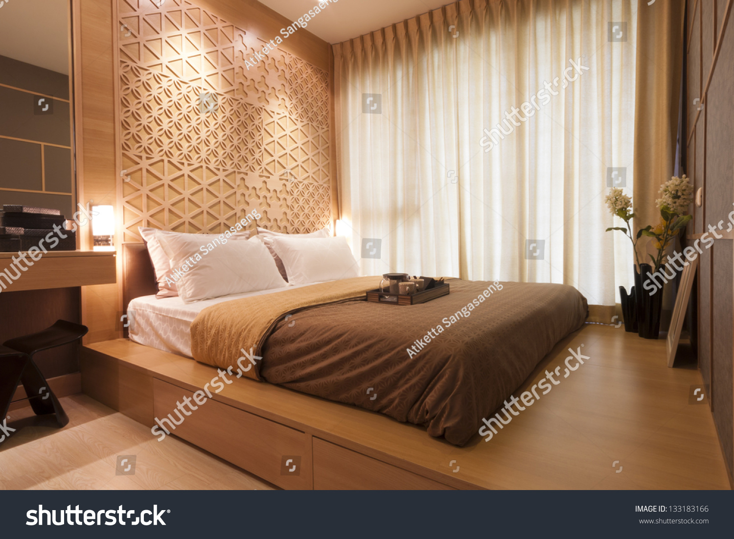 japanese style bedroom with tea set stock photo 133183166